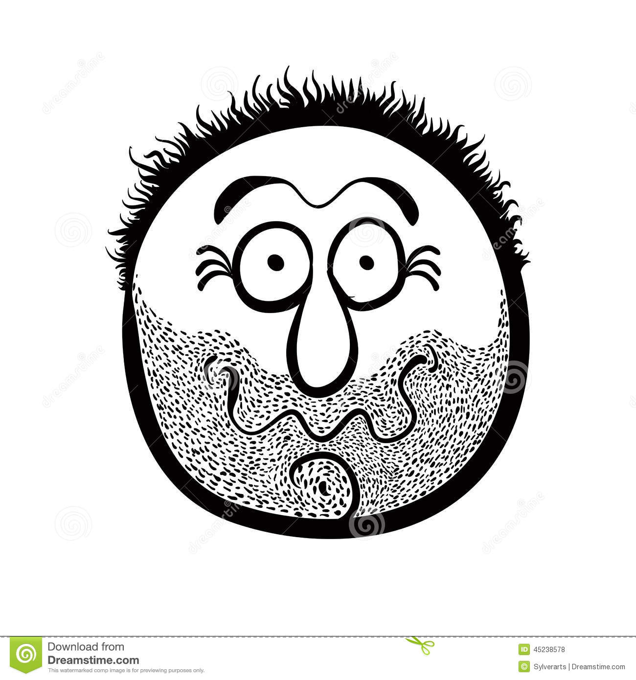 Funny Cartoon Face With Stubble Black And White Stock
