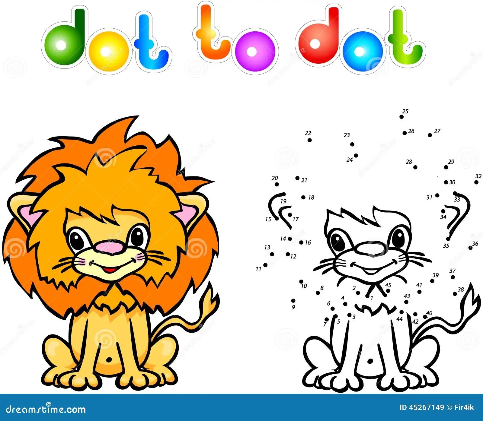 Funny Cartoon Lion Dot To Dot Stock Vector
