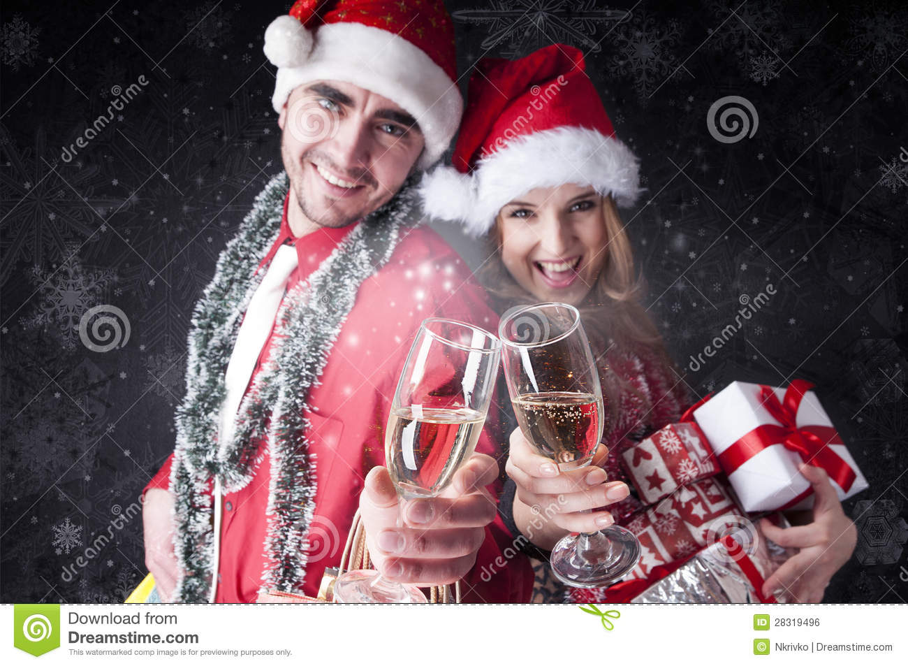 Funny Christmas Couple With Glasses Of Champagne Royalty
