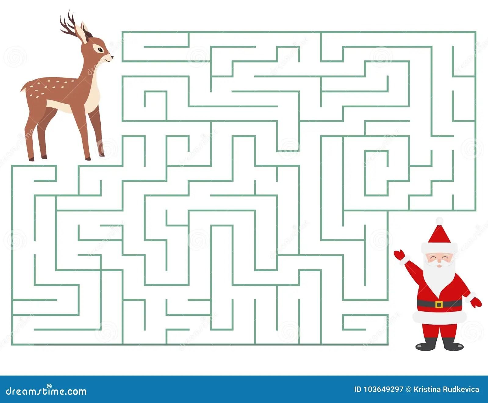 Funny Christmas Maze For Children Stock Vector