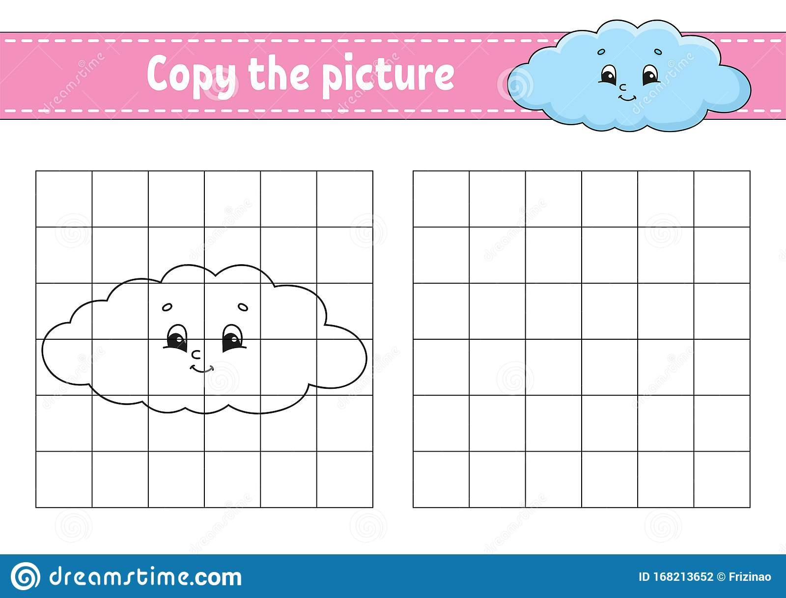 Funny Cloud Copy The Picture Coloring Book Pages For