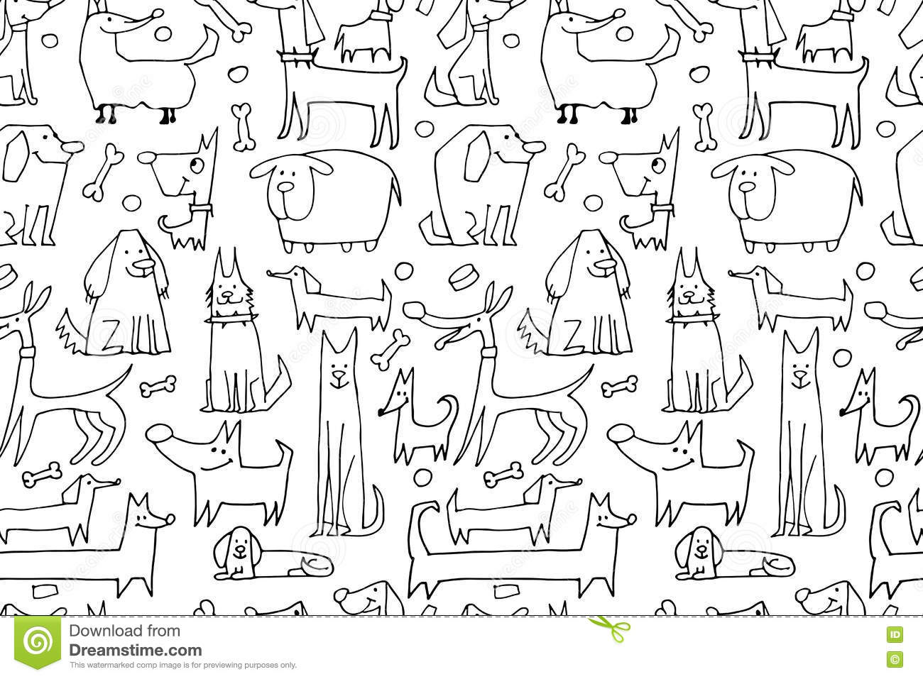 Funny Dogs Collection Seamless Pattern For Your Design