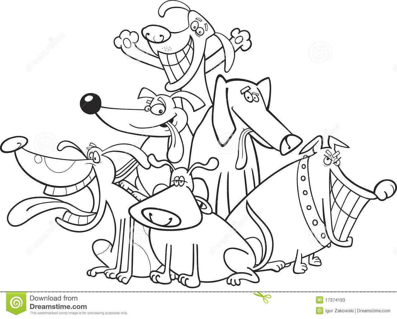Funny Dogs For Coloring Stock Vector Illustration Of