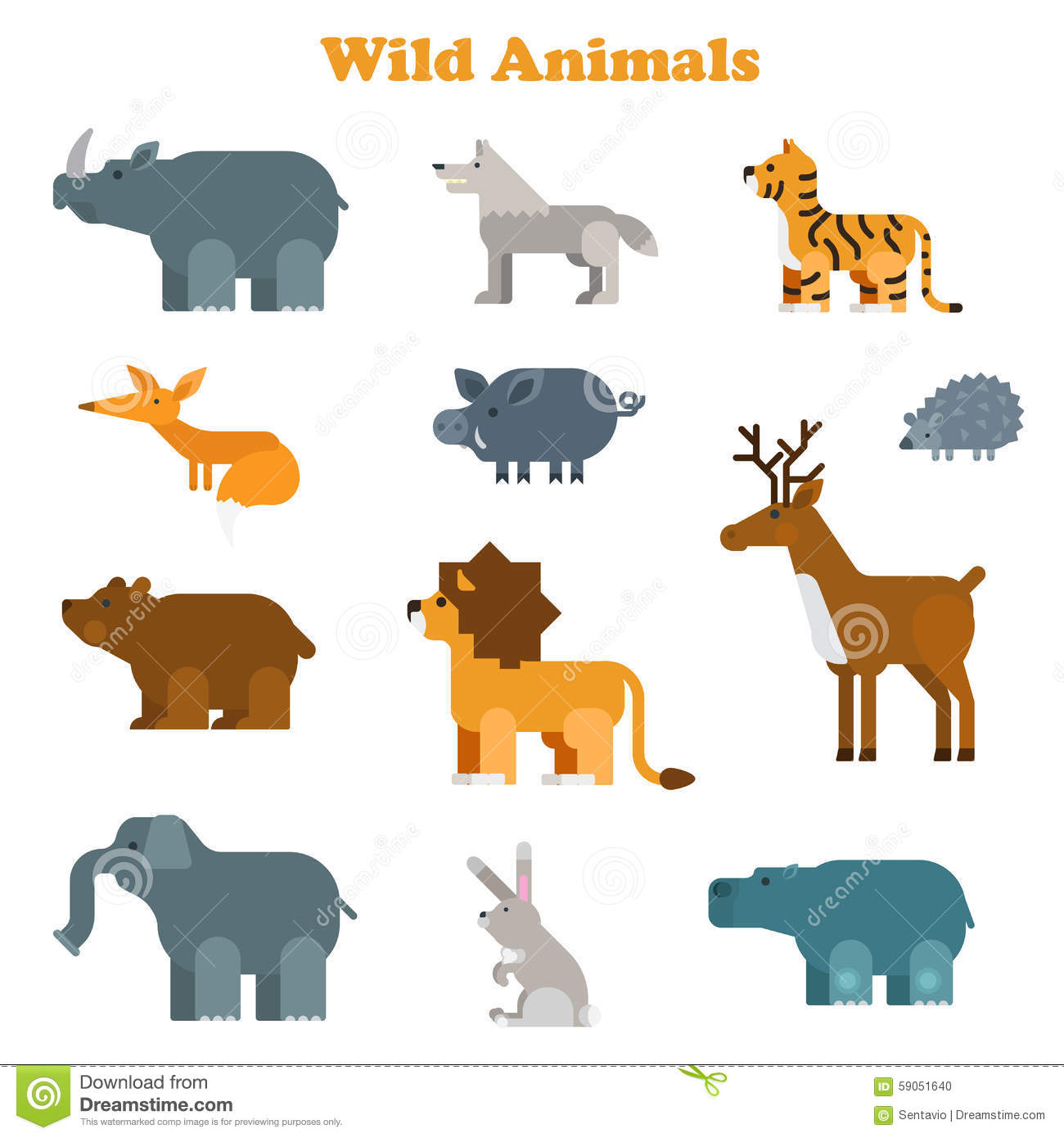 Funny Flat Kid Style Happy Wild Animals Icon Set Stock