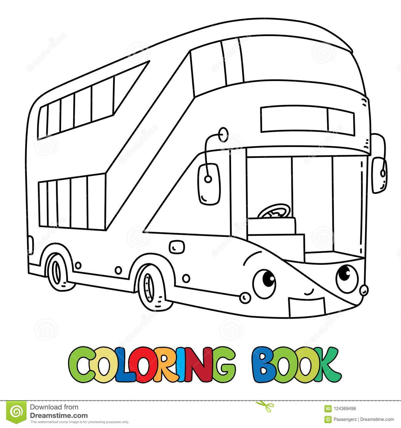 Funny London Bus With Eyes Coloring Book Stock Vector