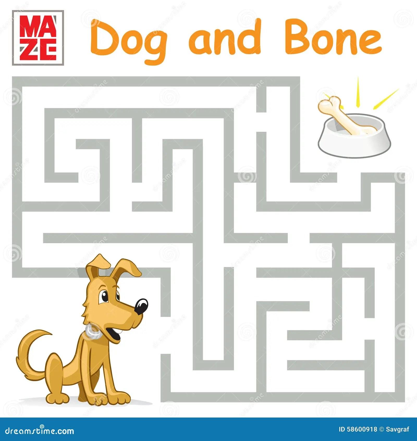 Funny Maze Game Cartoon Dog Find The Bone Stock Vector