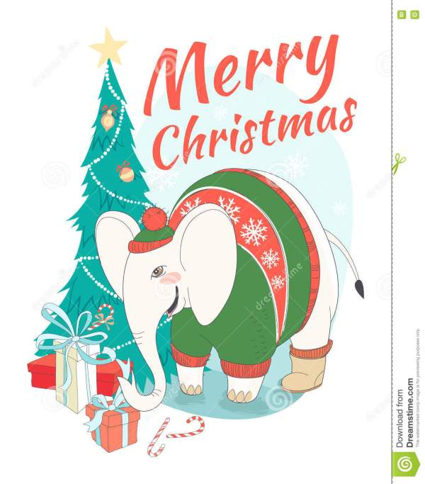Funny Merry Christmas Card With Elephant Wearing Cute ...