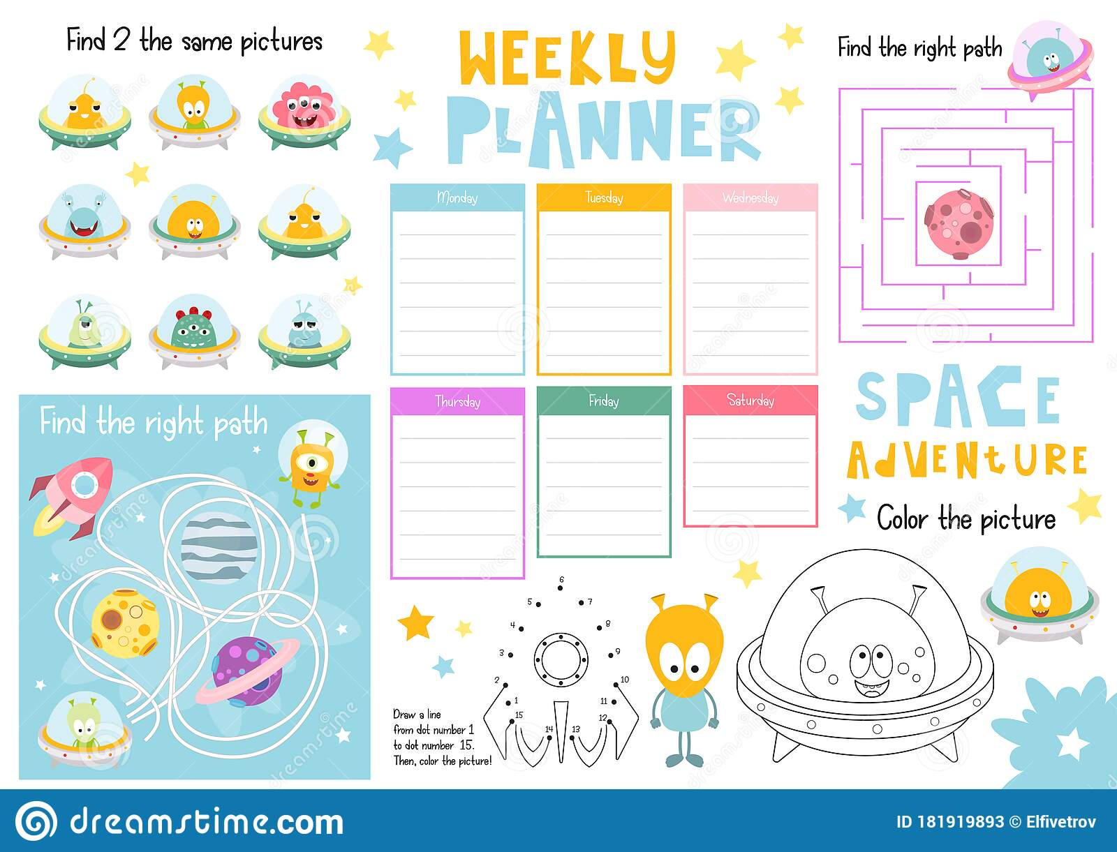 Have you ever had a student who cried all day for his or her mommy? Kids Weekly Planner Template Stock Vector Illustration Of Plan Puzzle 181919893