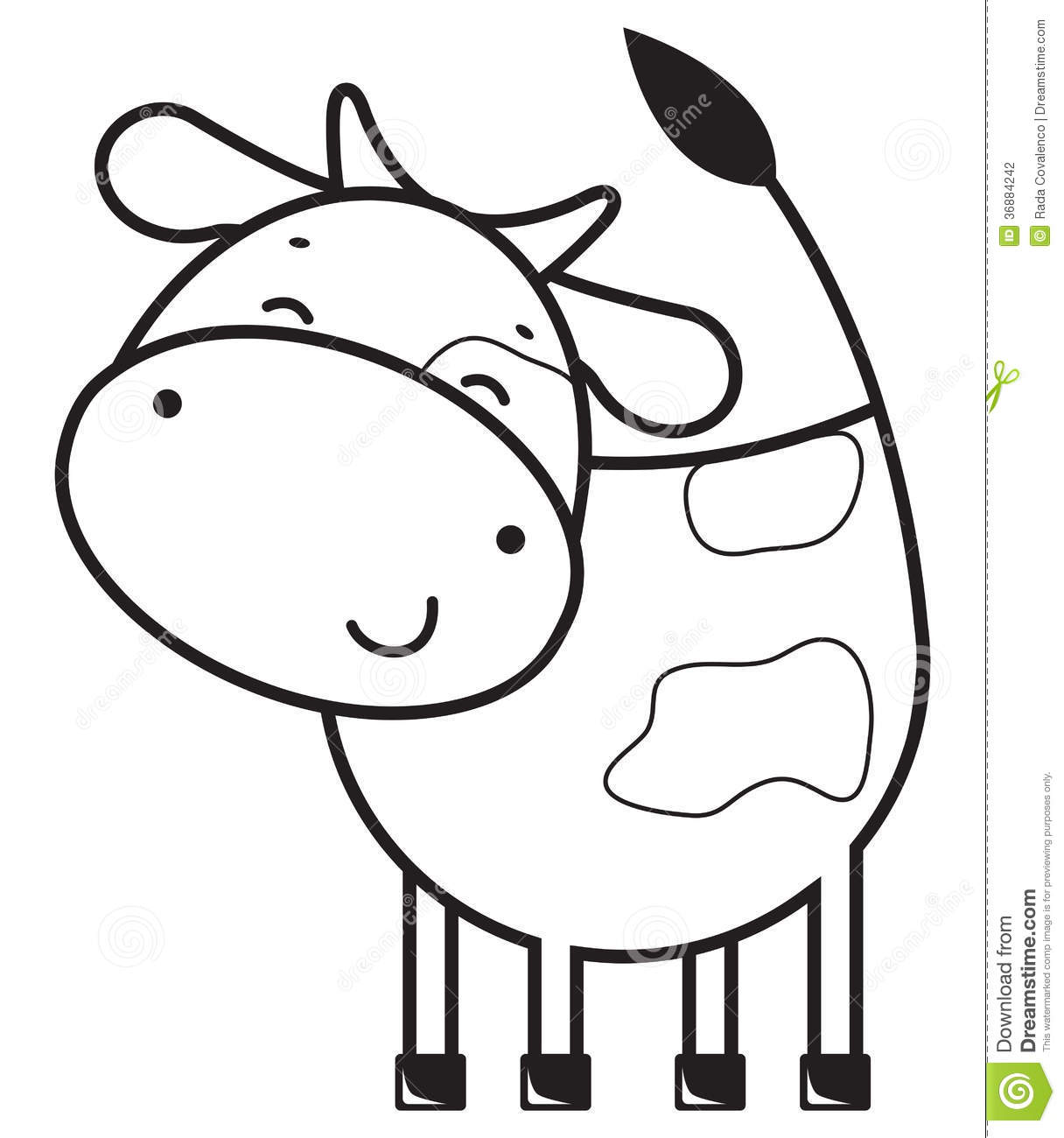 Funny Outline Cow Stock Vector Illustration Of Farm