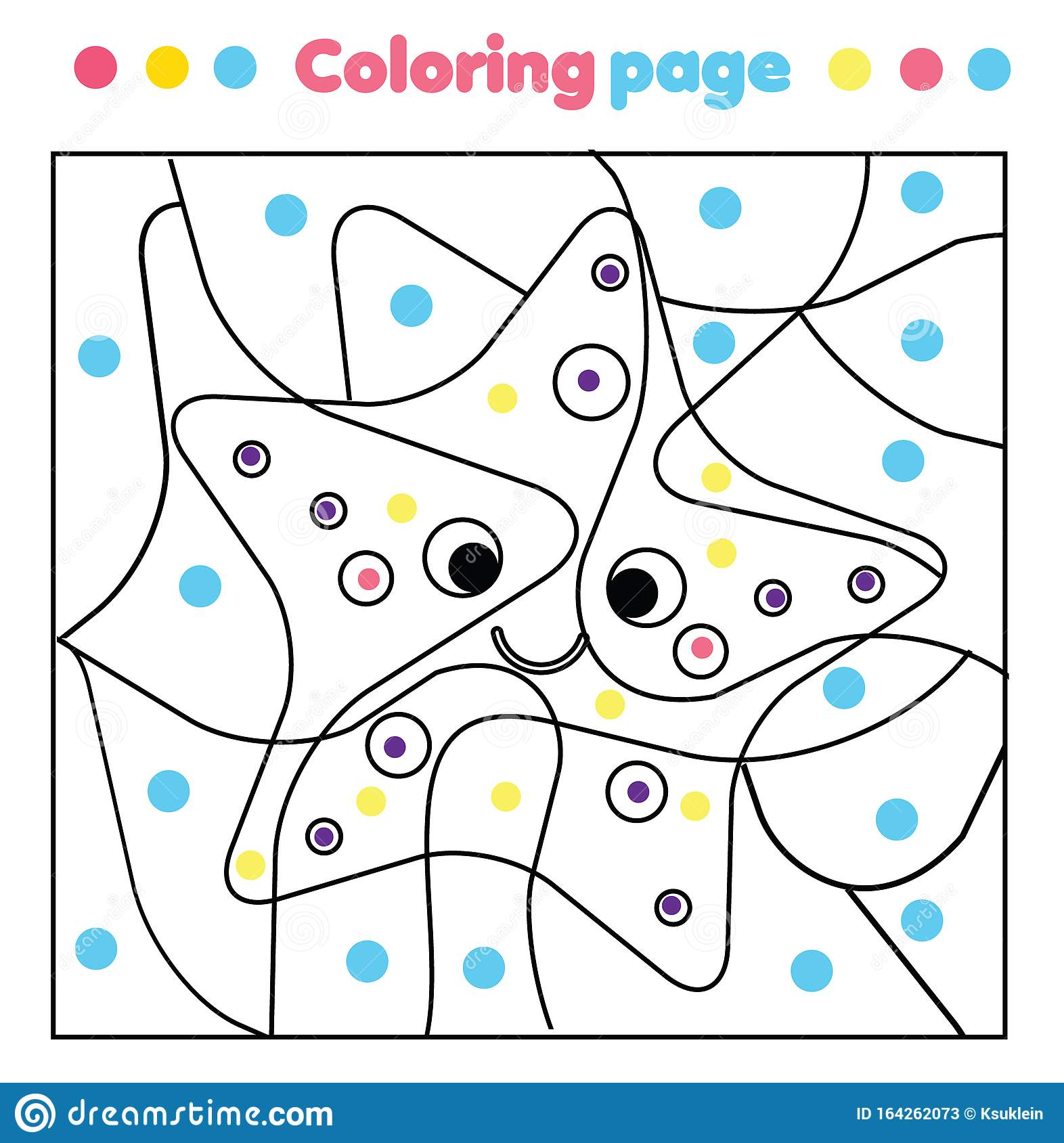 Funny Starfish Coloring Page Color By Dots Printable