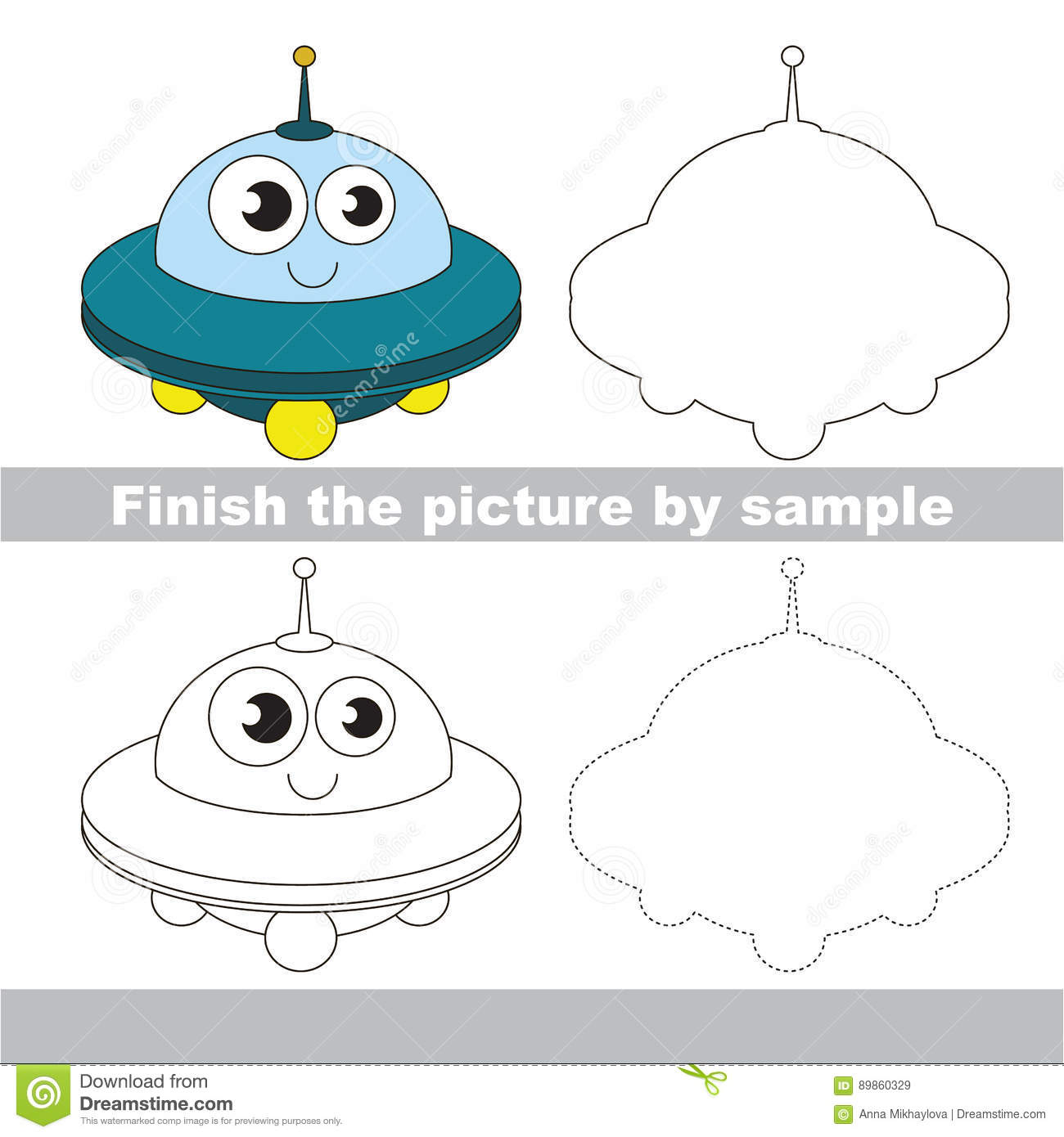 Funny Ufo Drawing Worksheet Stock Vector