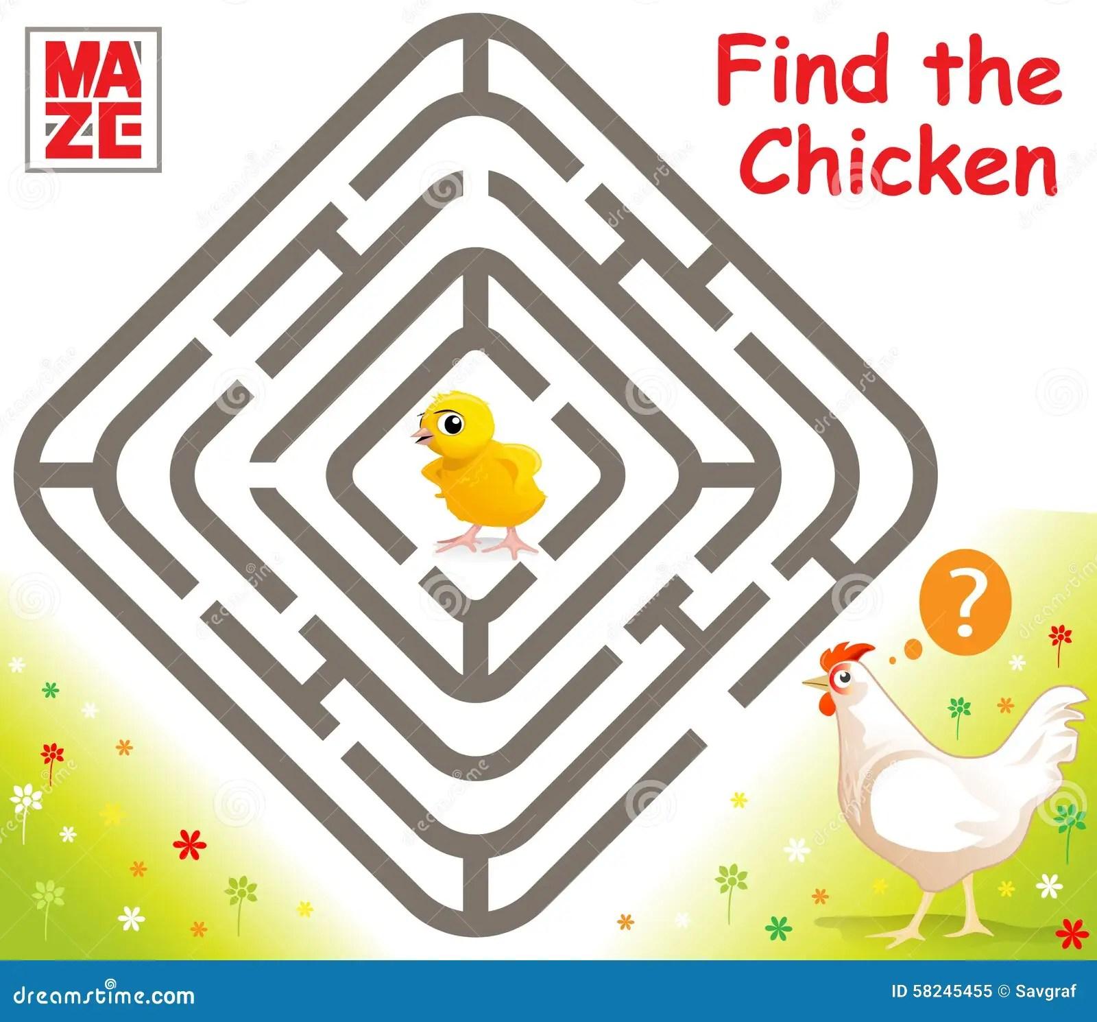 Easy Chicken Maze Cartoon Vector