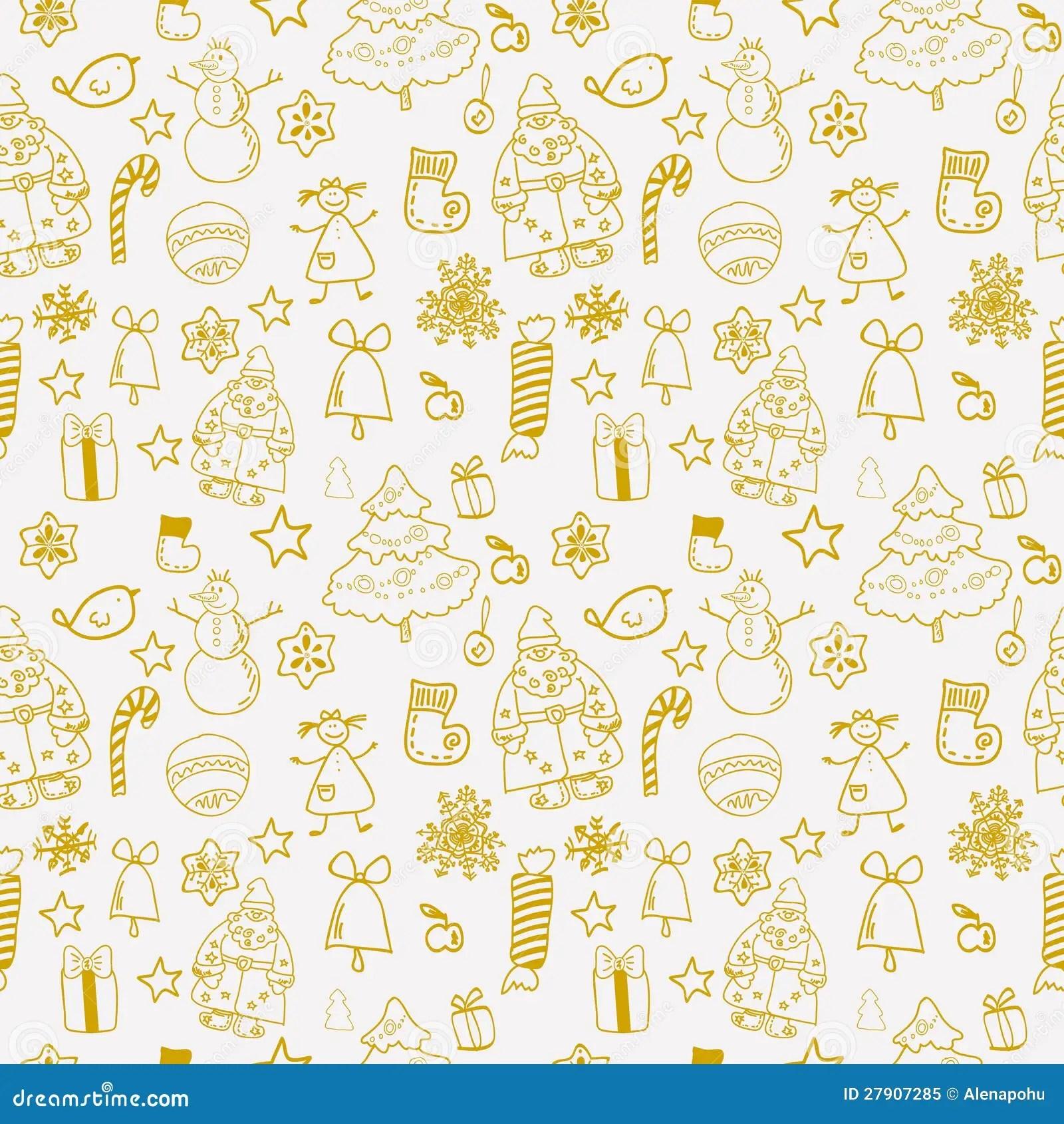 Funny Winter Christmas Seamless Pattern Stock Illustration