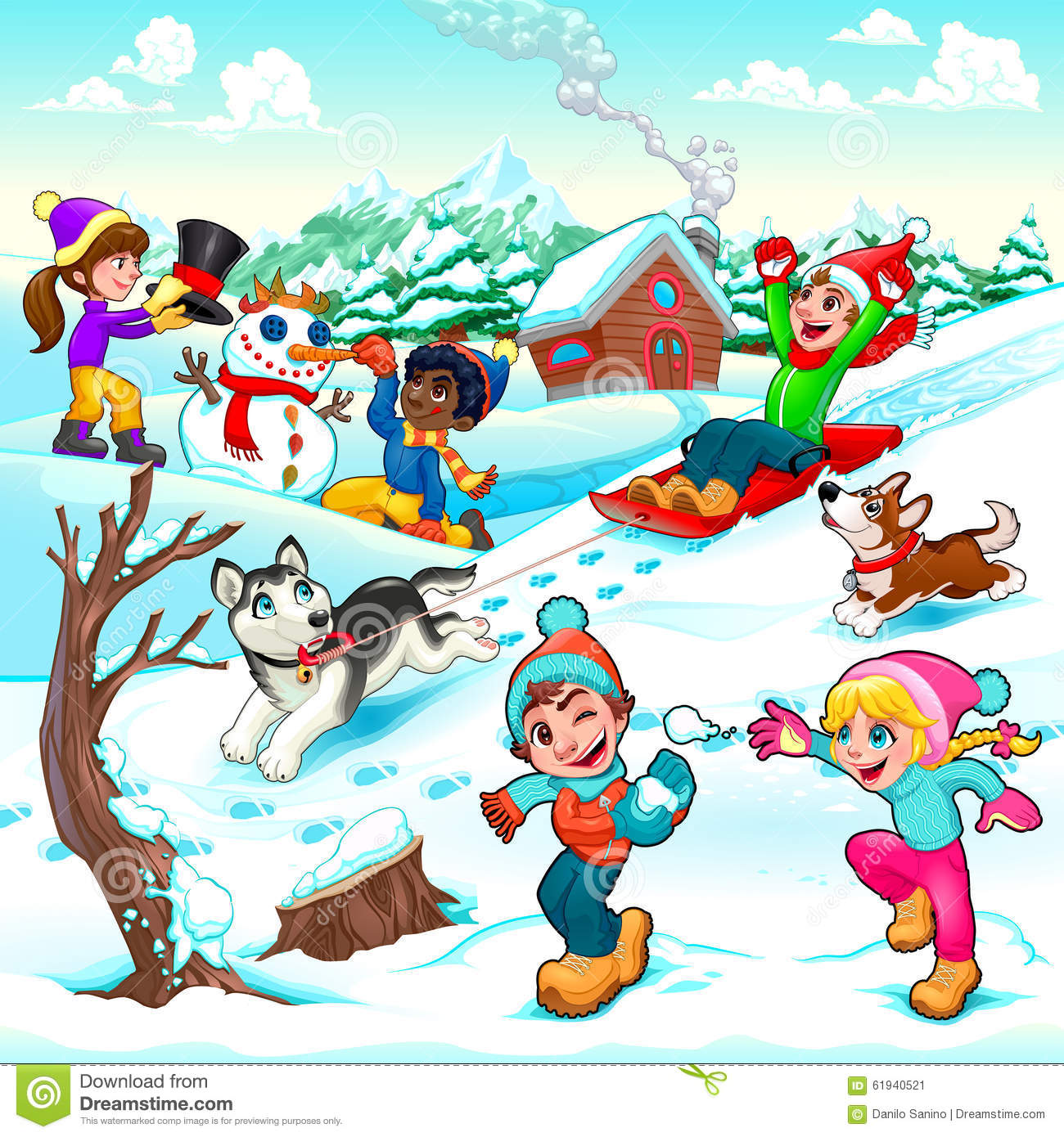 Funny Winter Scene With Children And Dogs Stock Vector