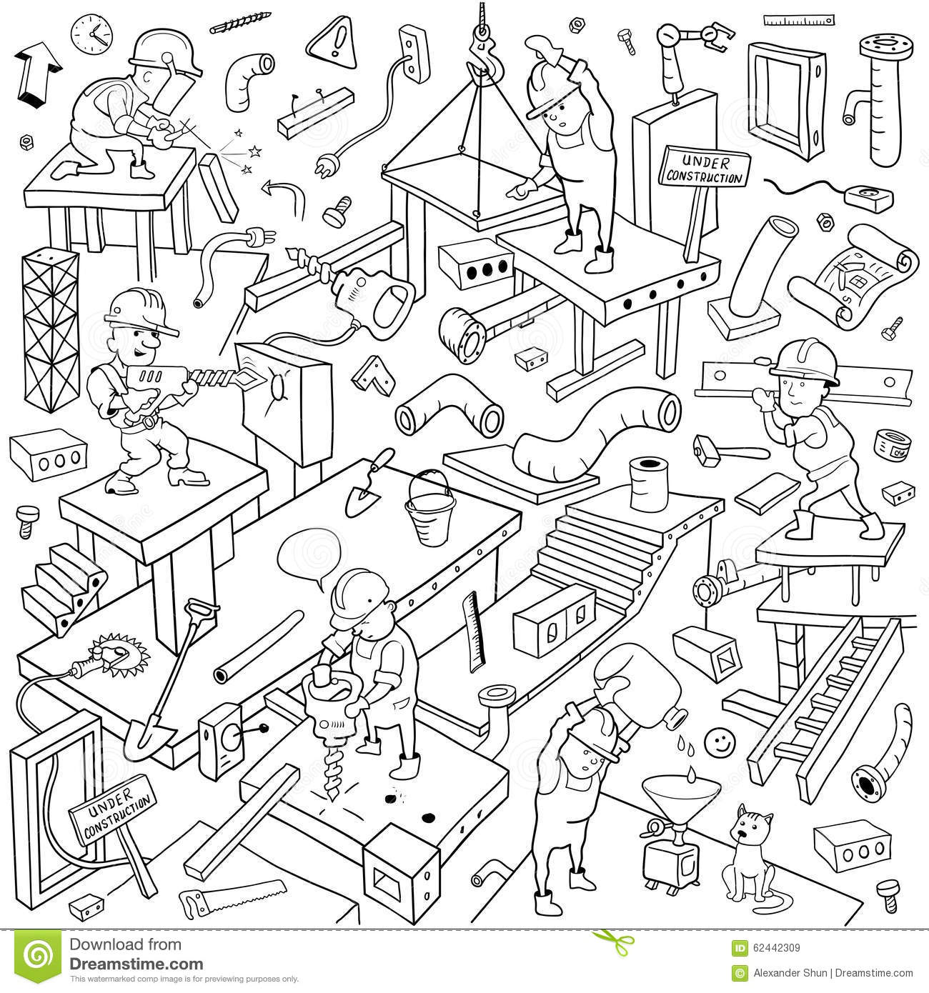 Funny Working People Cover Pattern Background For Under