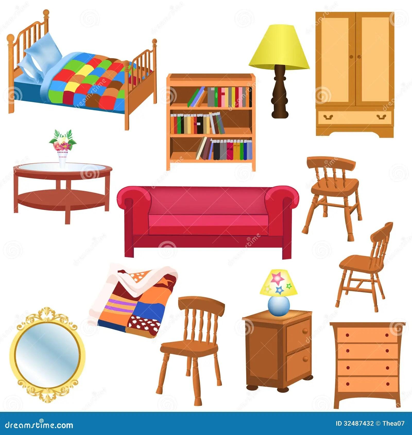 Furniture Set Stock Vector Illustration Of Table Blanket