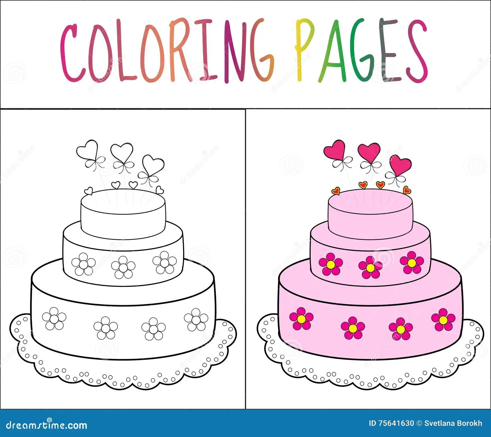 Gateau De Page De Livre De Coloriage Version De Croquis Et