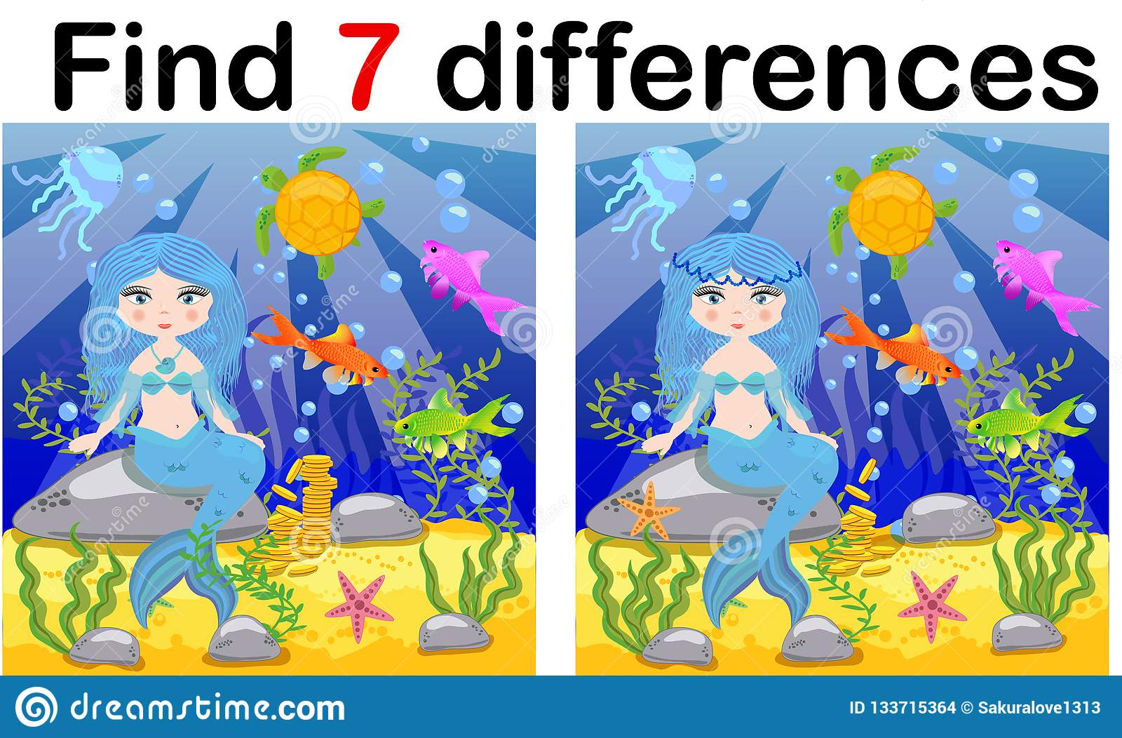 Game For Children Find Differences Little Mermaid And