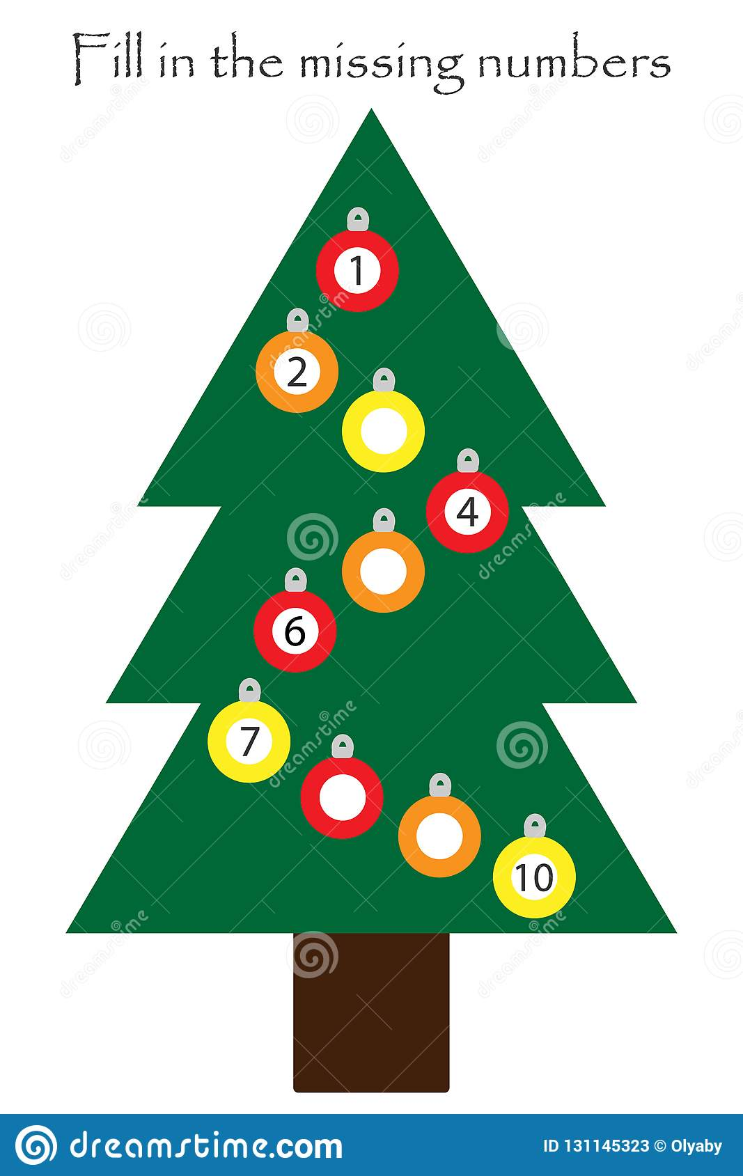Game With Christmas Tree For Children Fill In The Missing