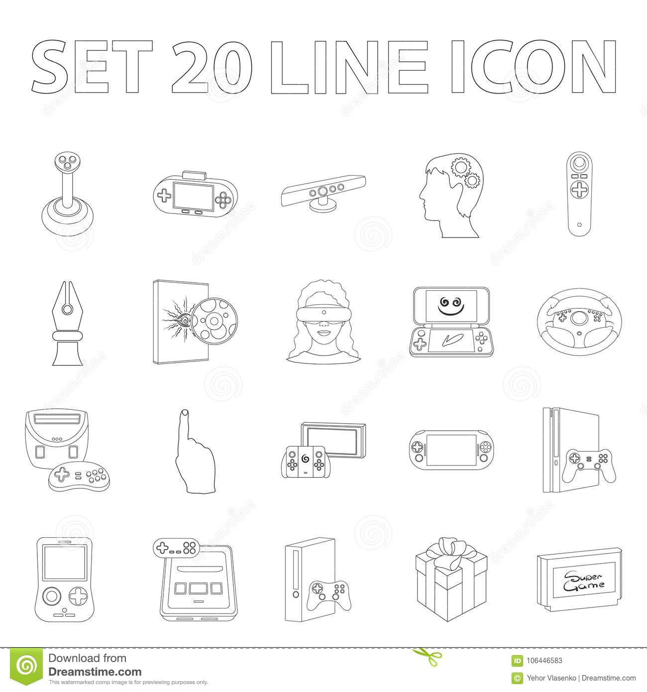 Game Console And Virtual Reality Outline Icons In Set