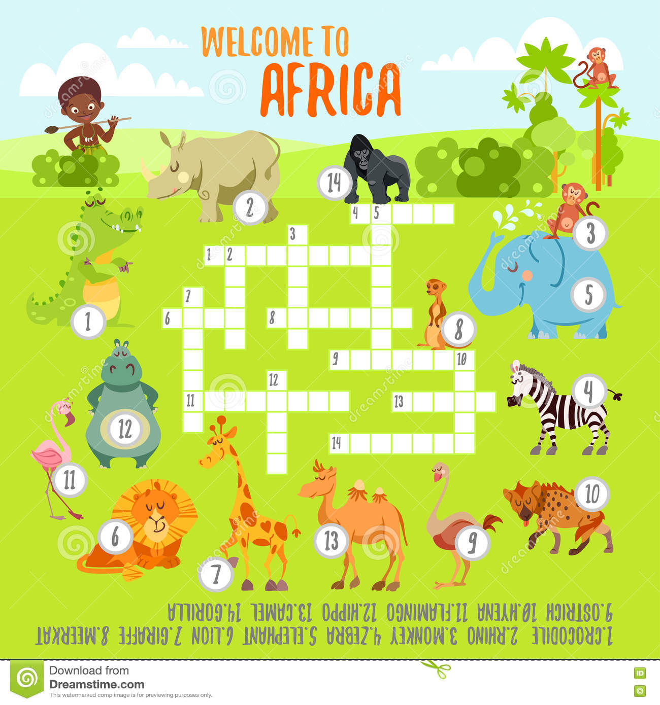 Game Crossword Concept With Cartoon African Animals Stock