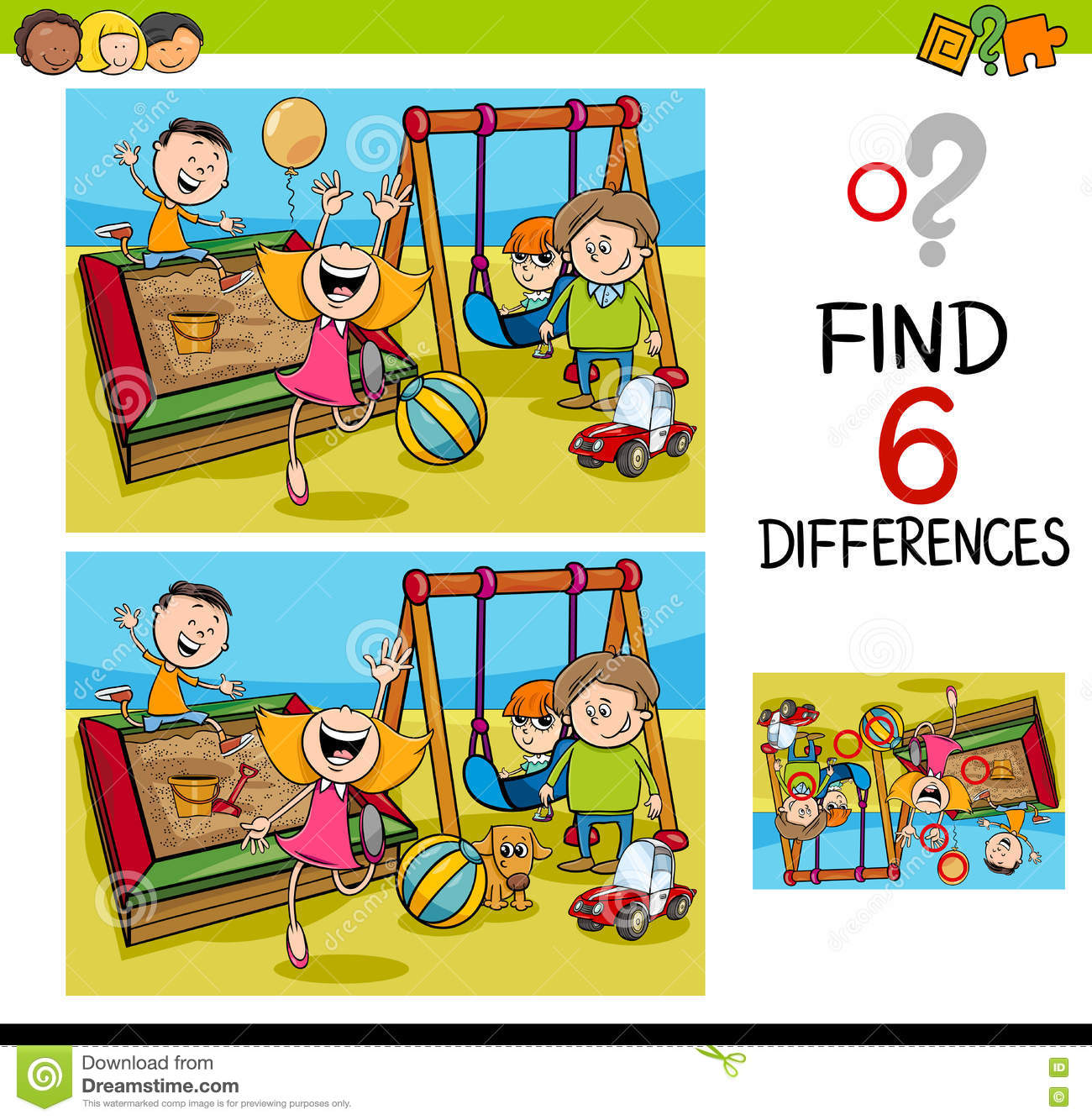 Game Of Differences With Kids Stock Vector