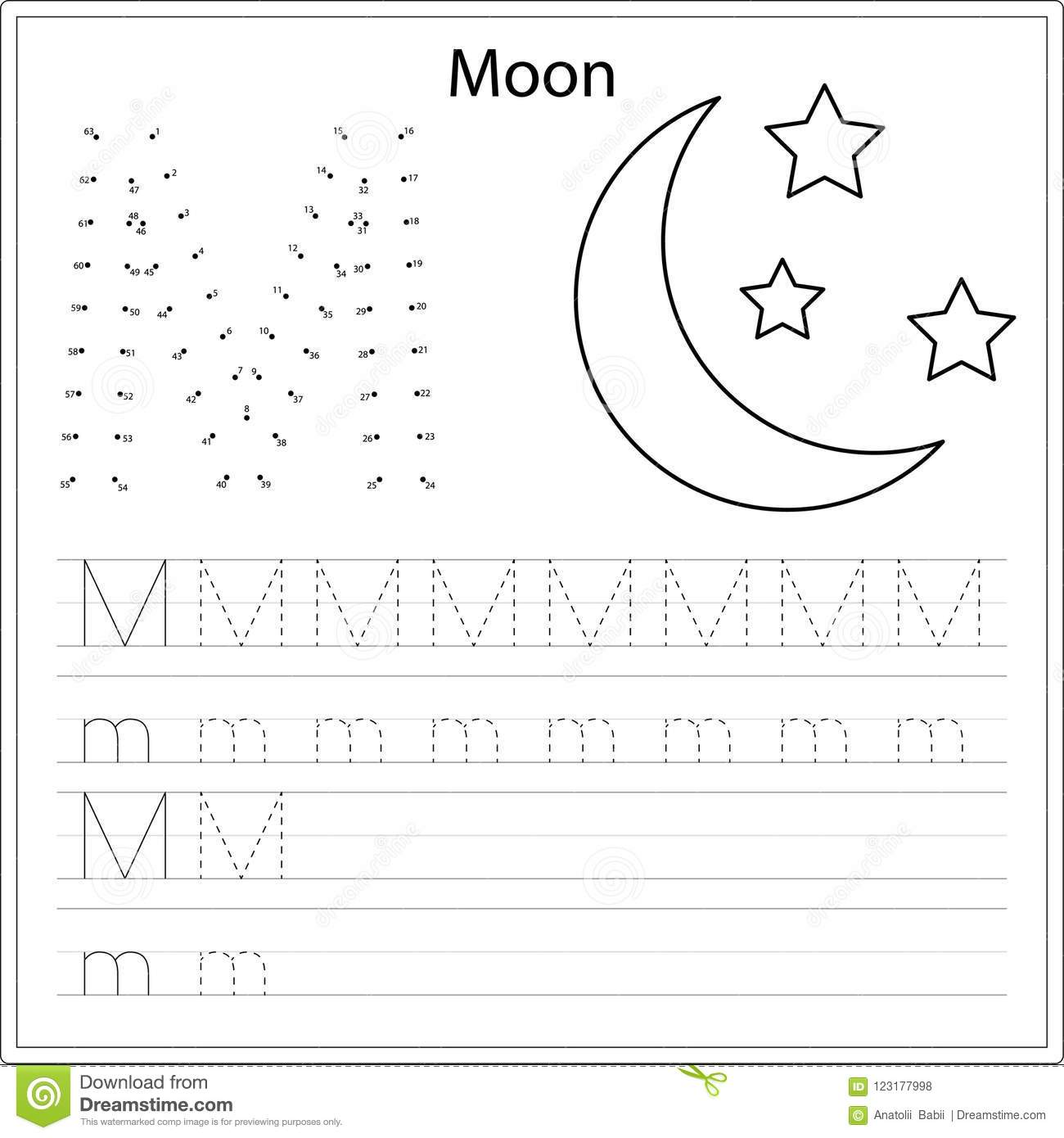 Learning Alphabet Worksheet Learning A Letter Painting Page Vector Illustration Stock
