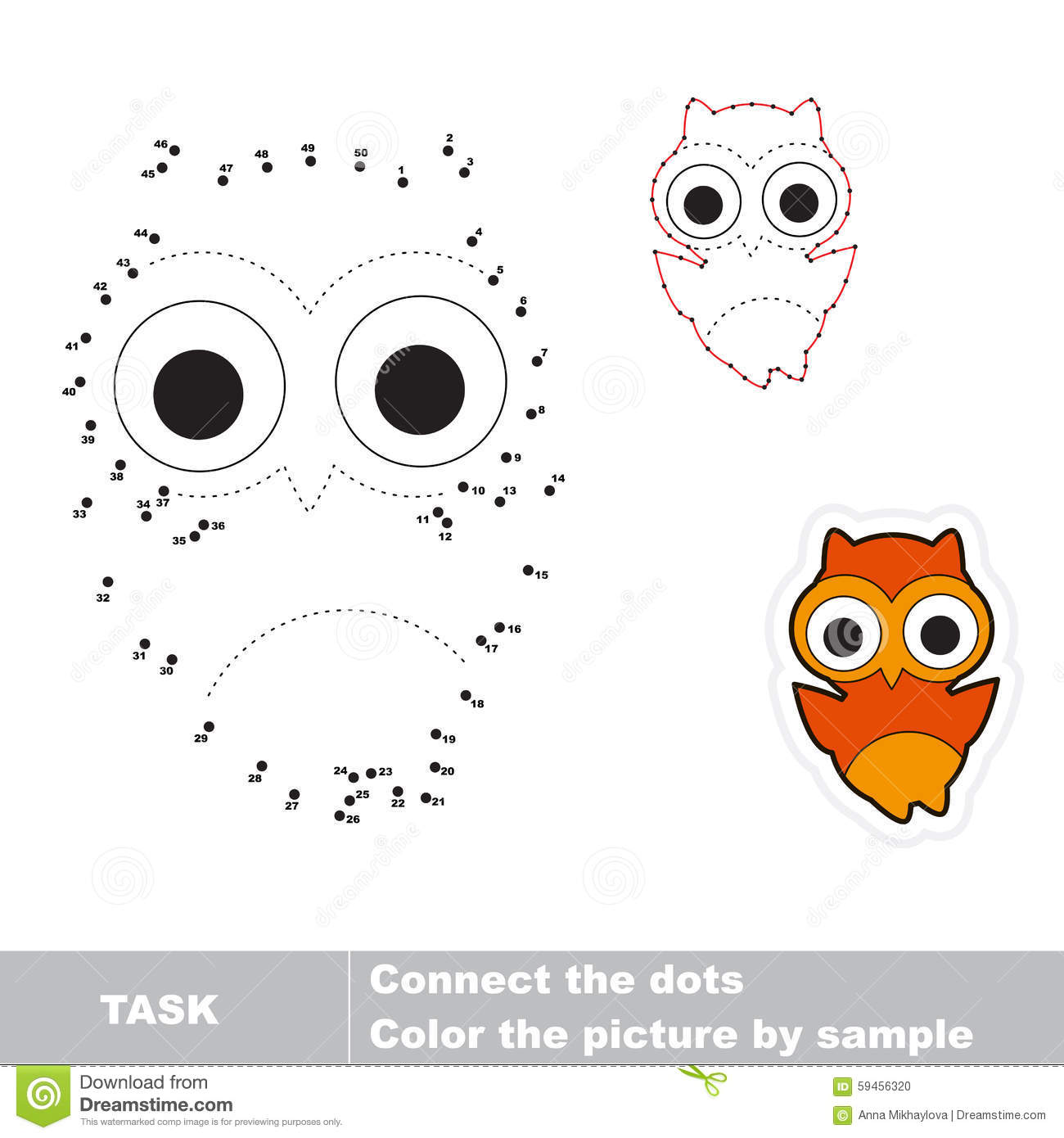 Game For Numbers One Cartoon Owl Stock Vector