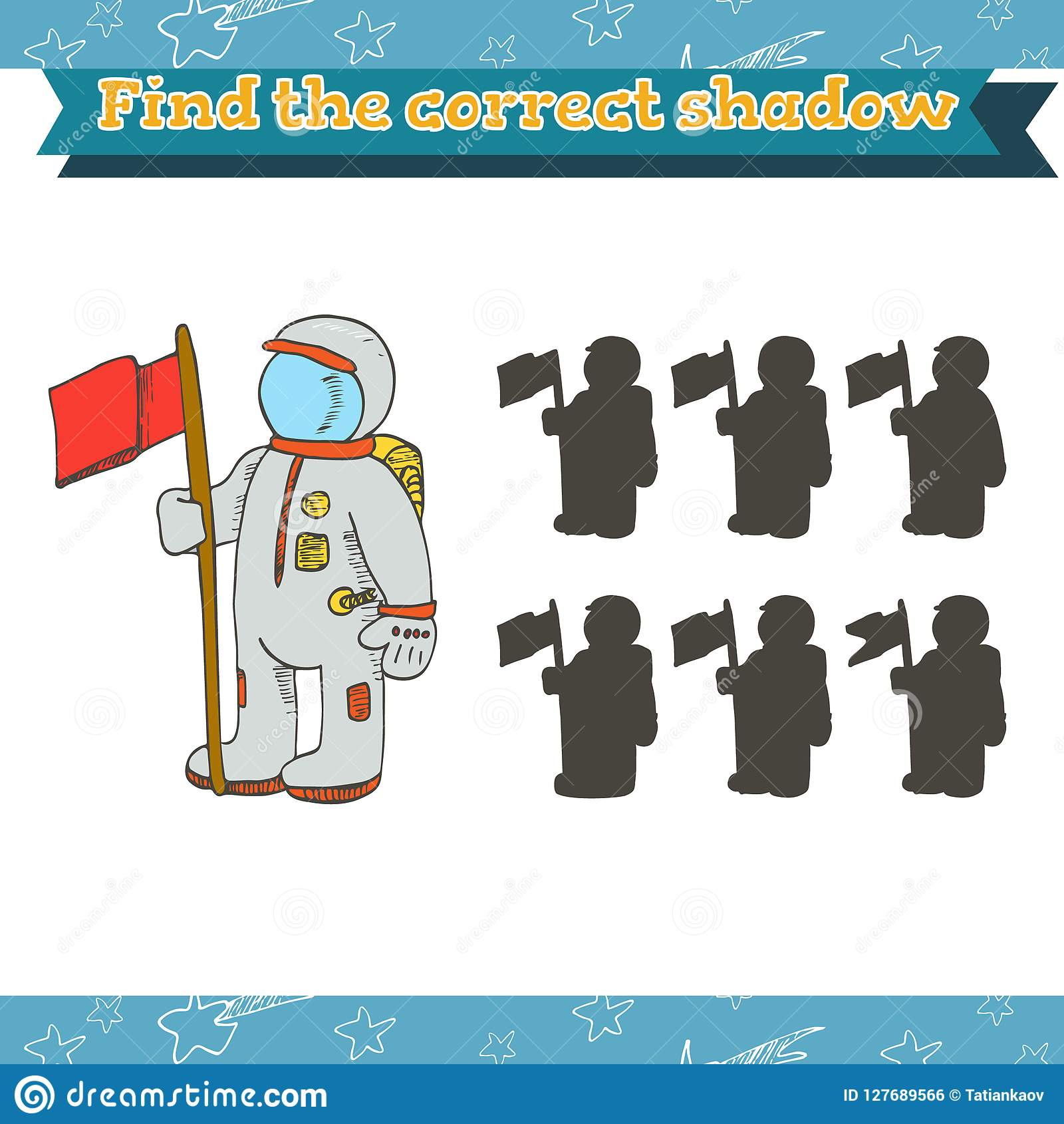 Game For Preschool Children Find The Correct Shadow