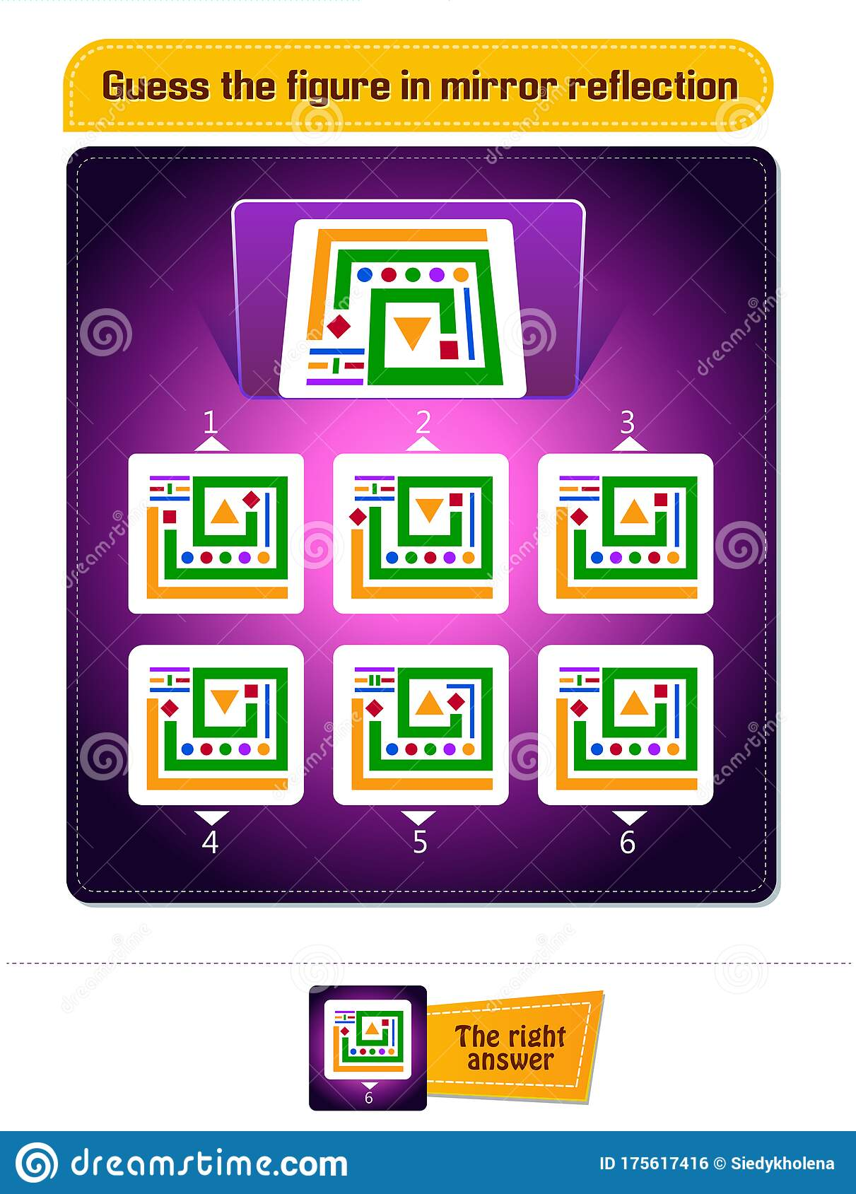 Game Spatial Thinking Mirror Reflection Stock Illustration