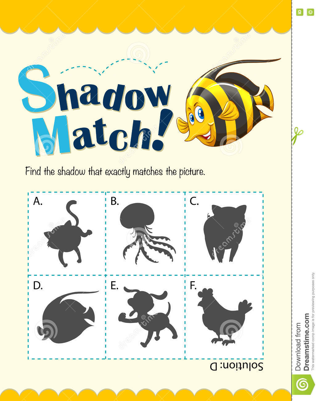 Game Template For Shadow Matching Fish Stock Vector