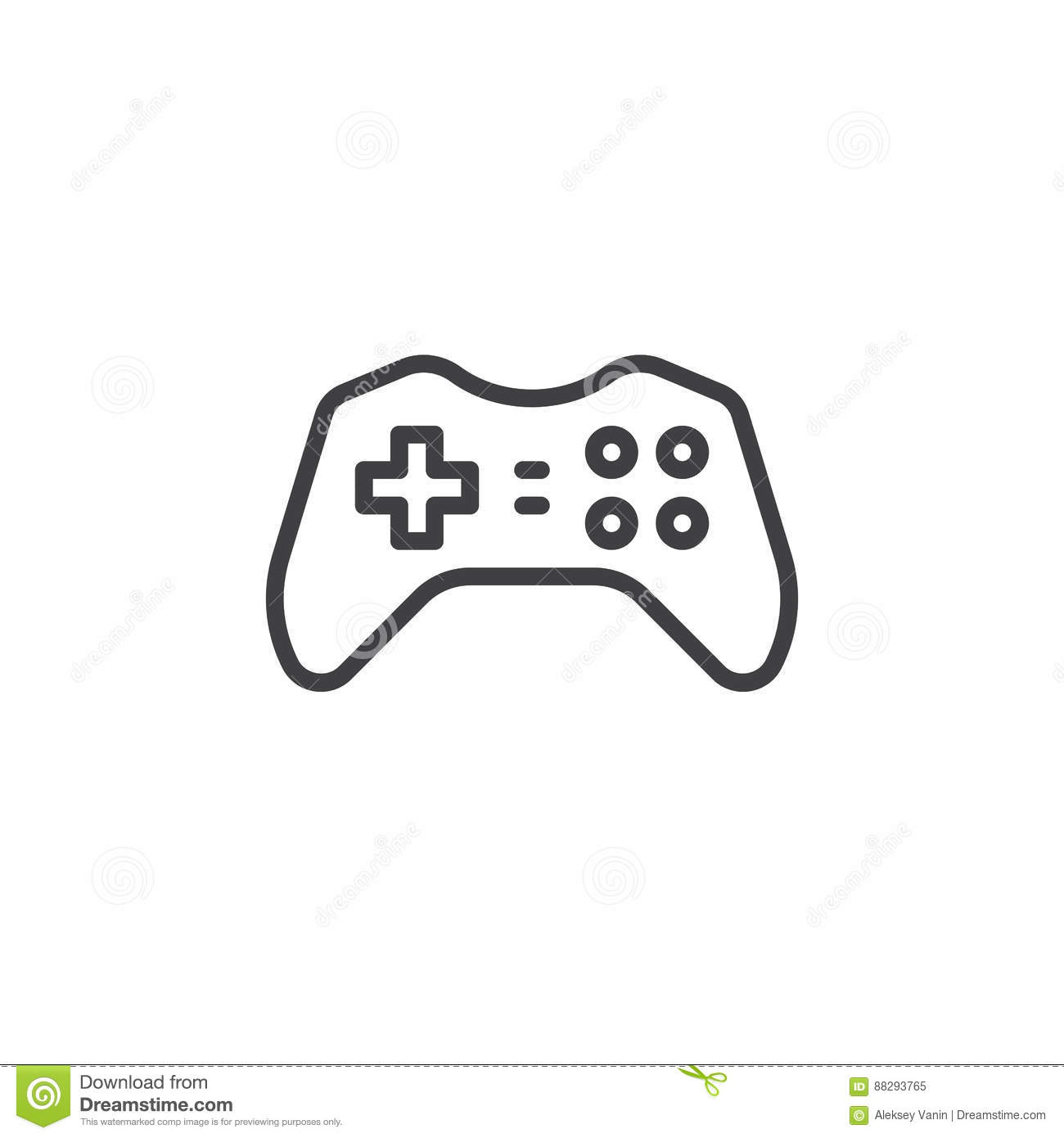 Gamepad Joypad Line Icon Outline Vector Sign Stock