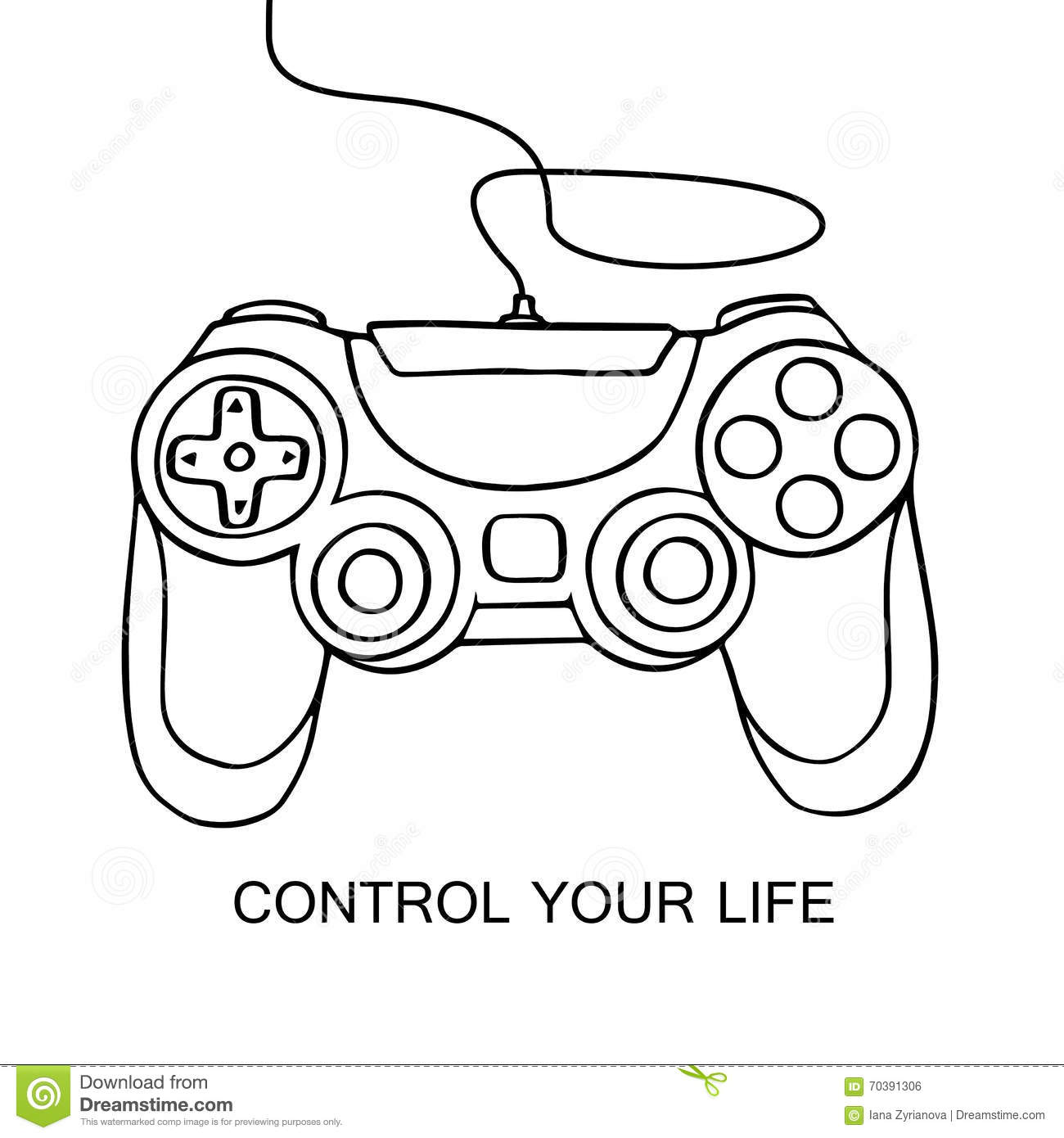 Gamepad Sketch Icon Hand Drawn Vector Illustration Isolated On White Background Control Your