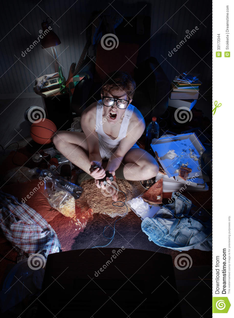 Gamer Nerd Playing Video Games On Television Stock Images
