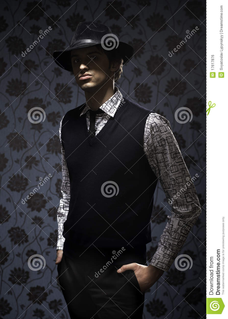Gangster In Dark Key On Wallpapers Background Royalty Free