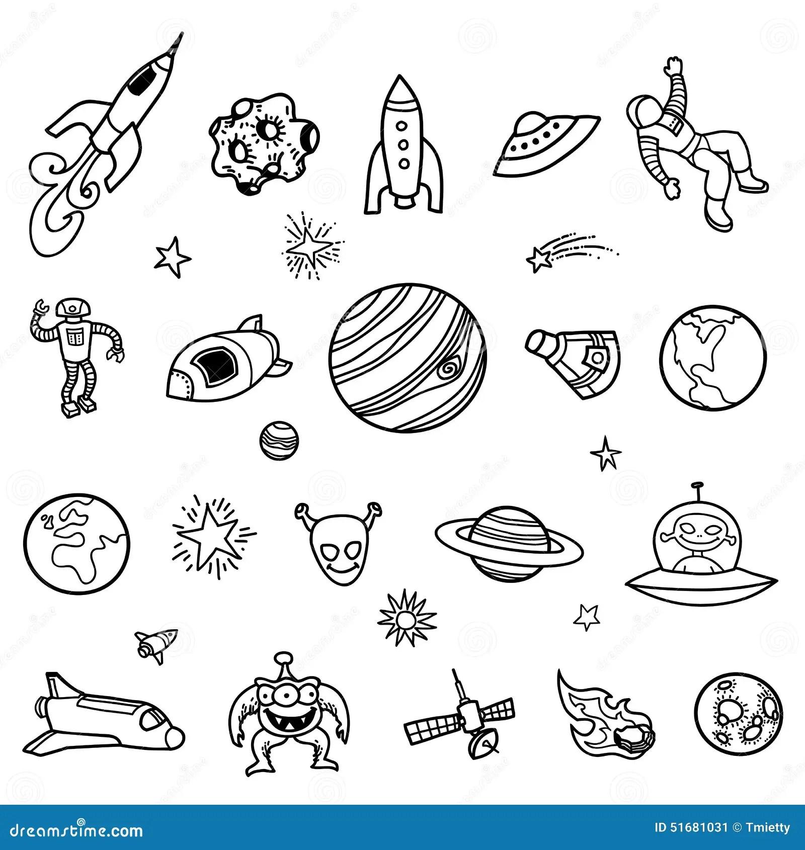 Garabatos A Mano Del Espacio Exterior Ilustracion Del