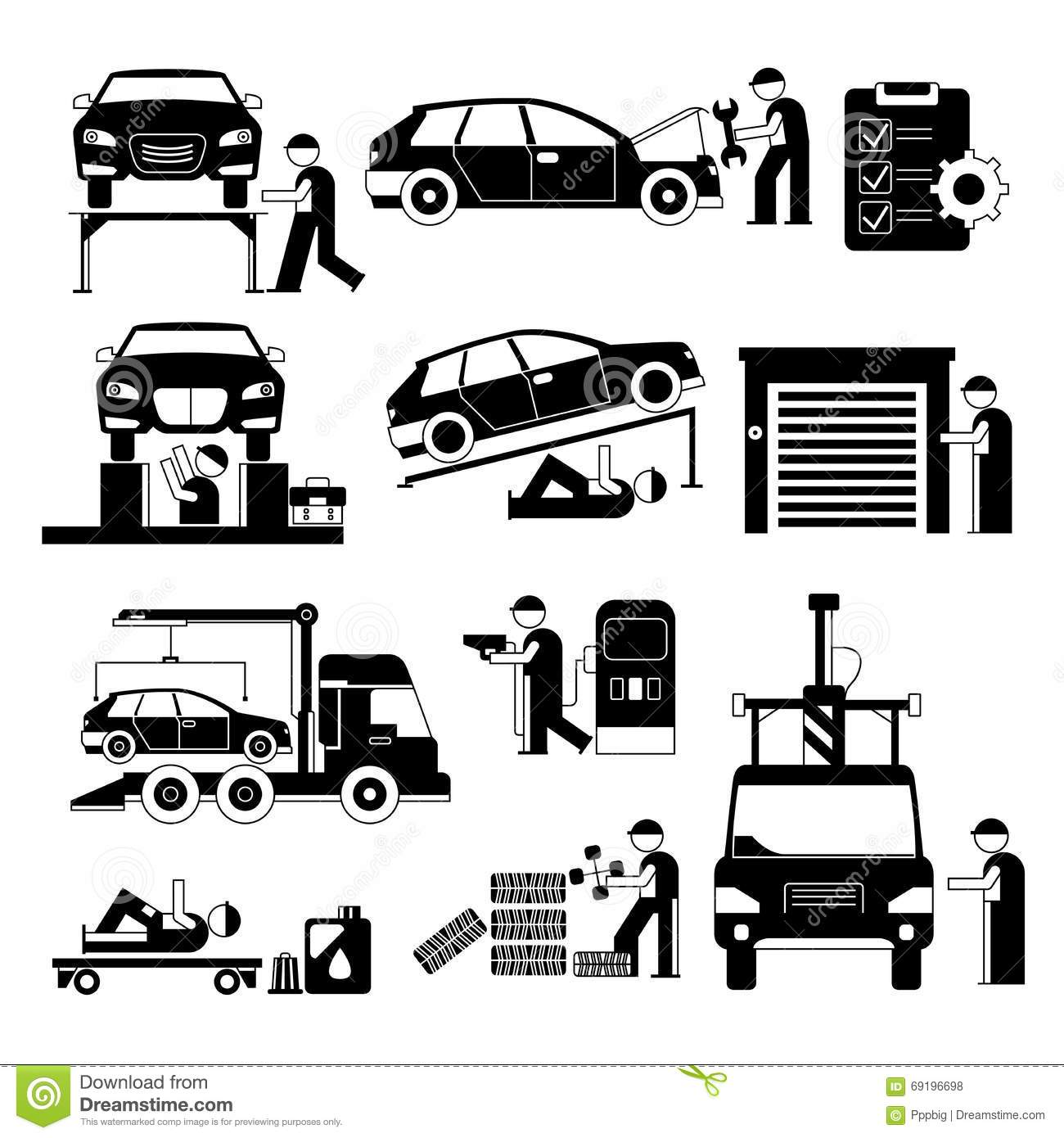 Garage And Auto Service Worker Stock Illustration