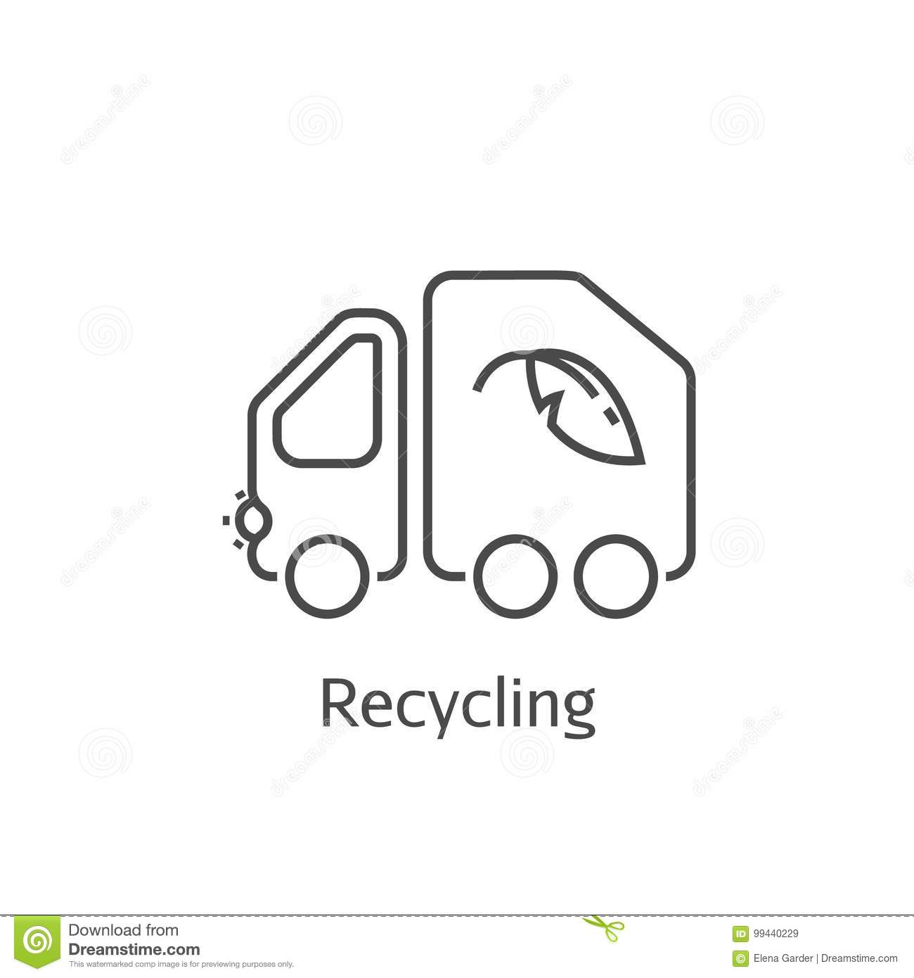 Garbage Truck Vector Thin Line Icon Stock Vector