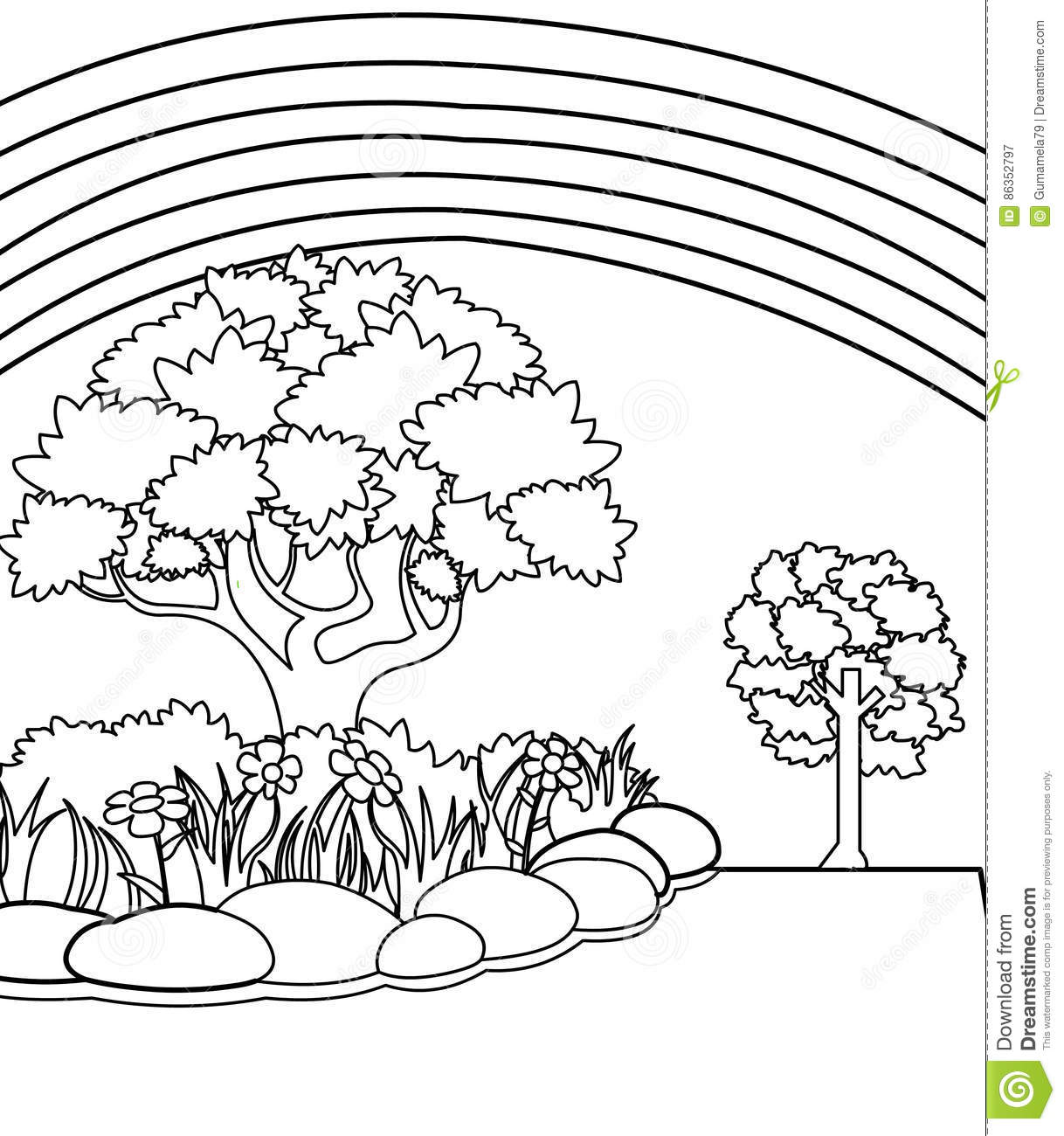 Garden Coloring Page Stock Illustration Illustration Of