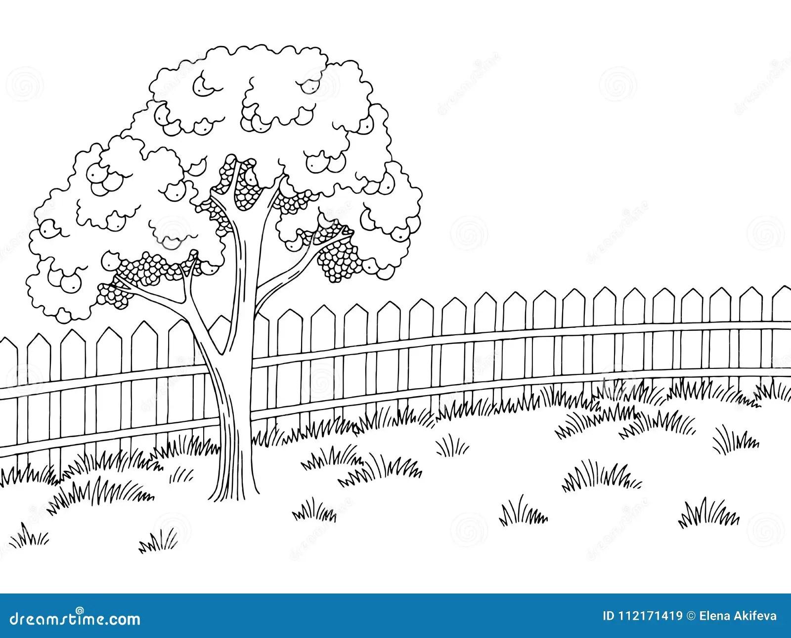 Garden Graphic Black White Landscape Apple Tree Sketch