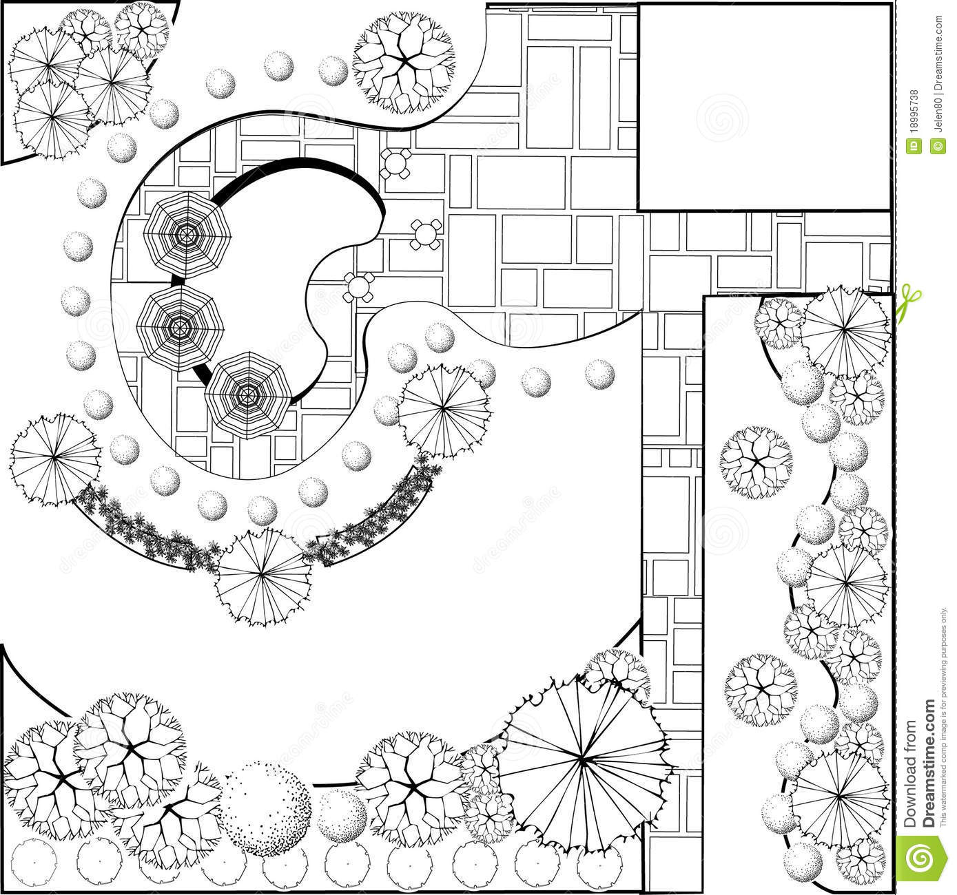Garden Plan Black And White Stock Vector