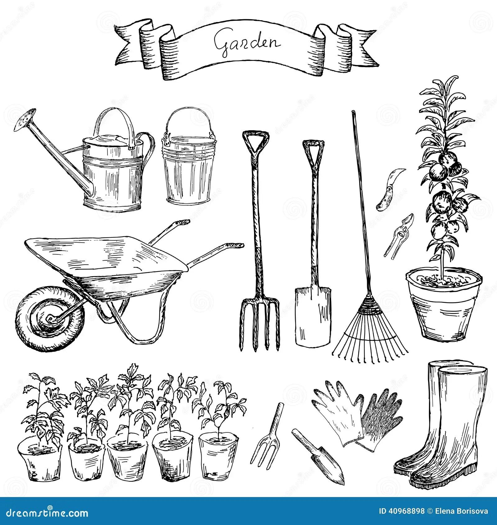 Garden Set Stock Vector Illustration Of Illustration