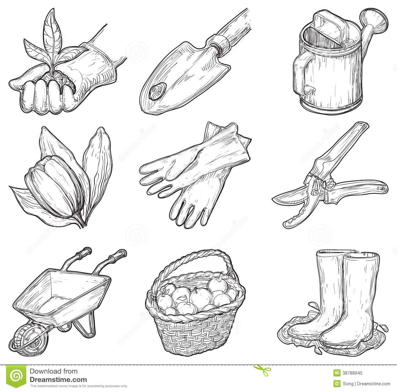 Garden Tools And Things Stock Vector