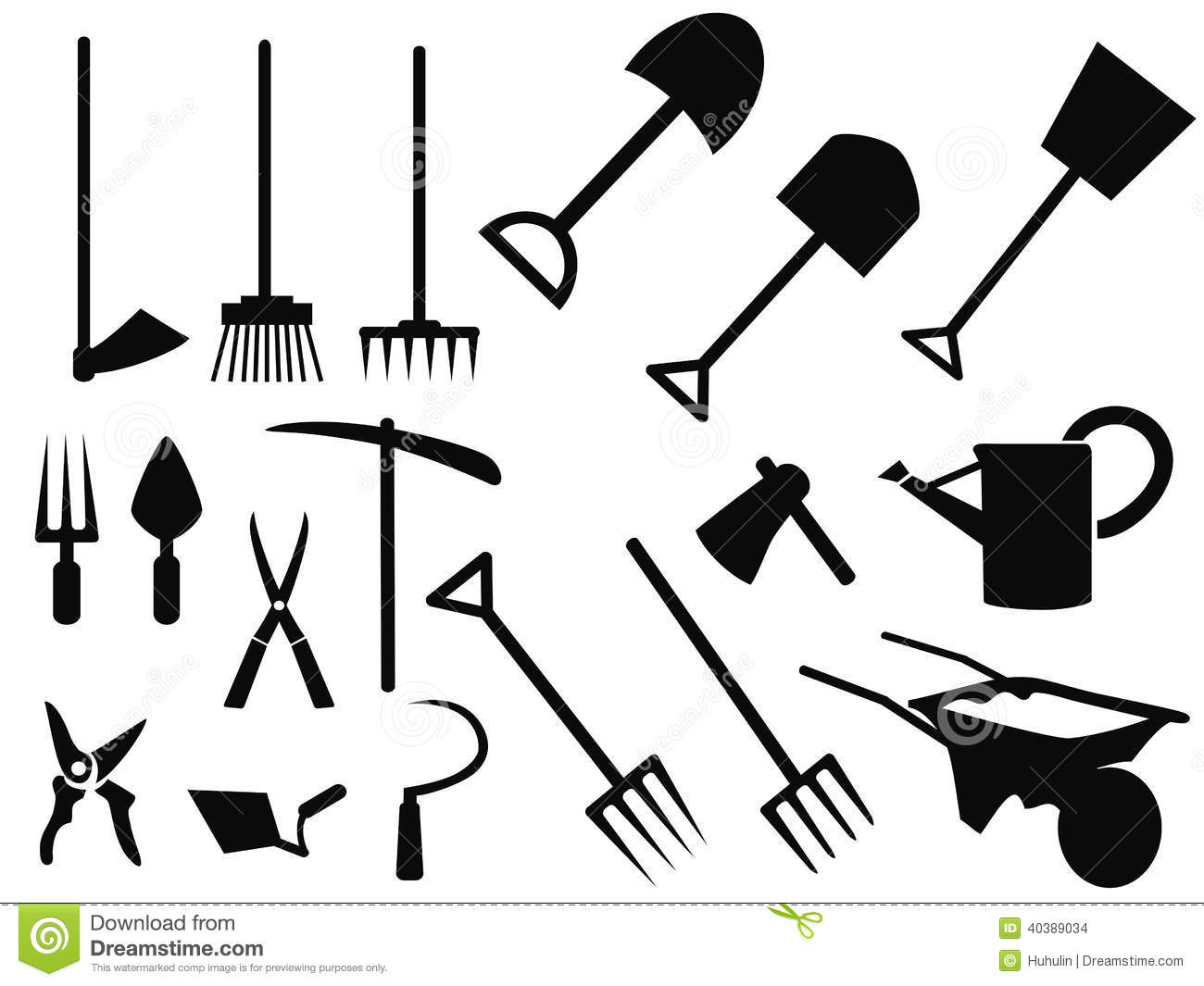 Gardening Tools Silhouette Vector Set Stock Vector