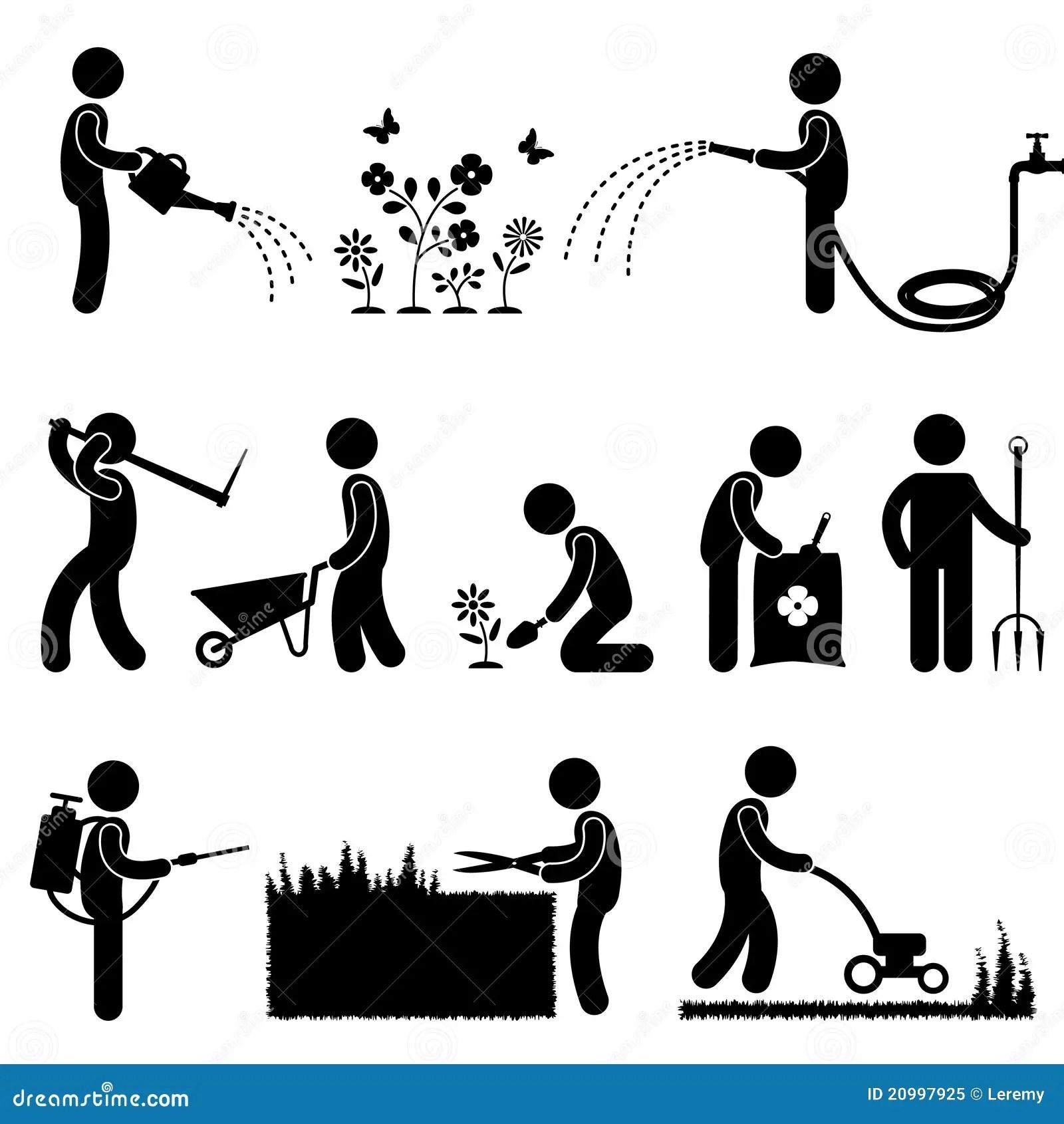 Gardening Work Plant Flower Grass Pictogram Icon S Stock