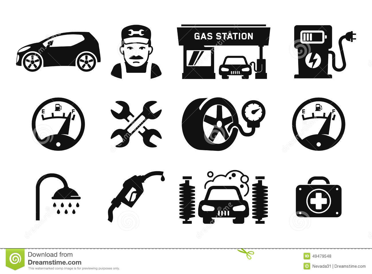 Gas Station Icons Stock Illustration Illustration Of