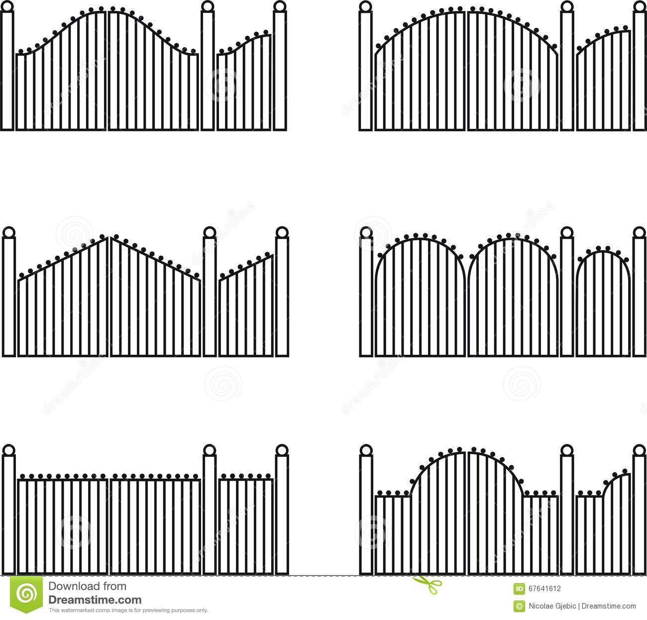 Gate Fences And Gates Stock Vector