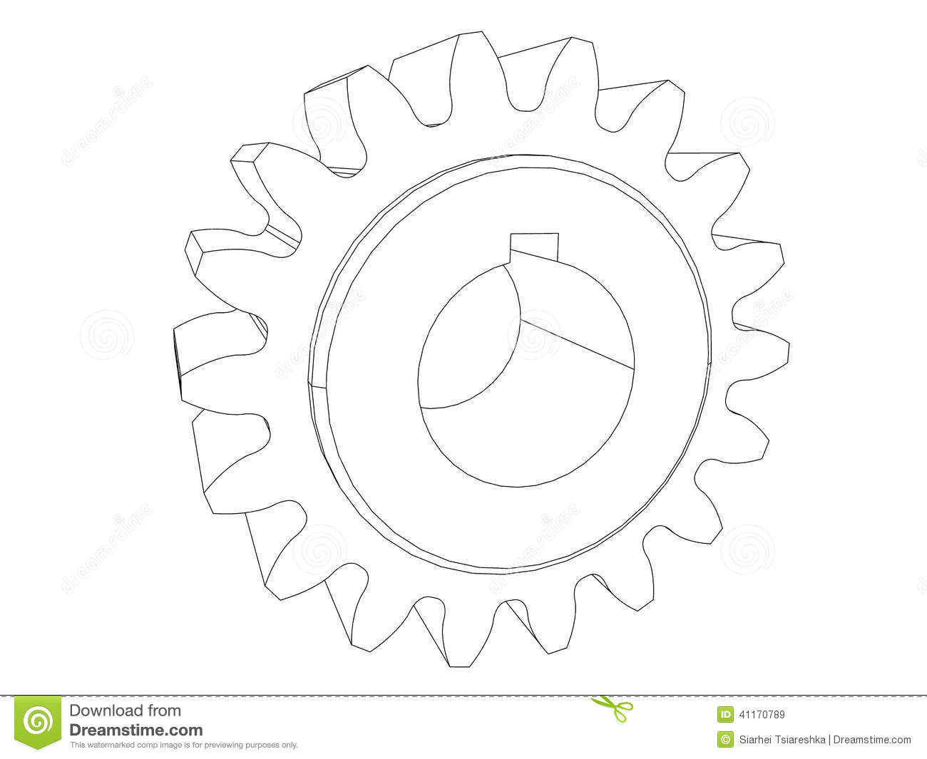 Gear Engineering Drawing Black Line Stock Illustration
