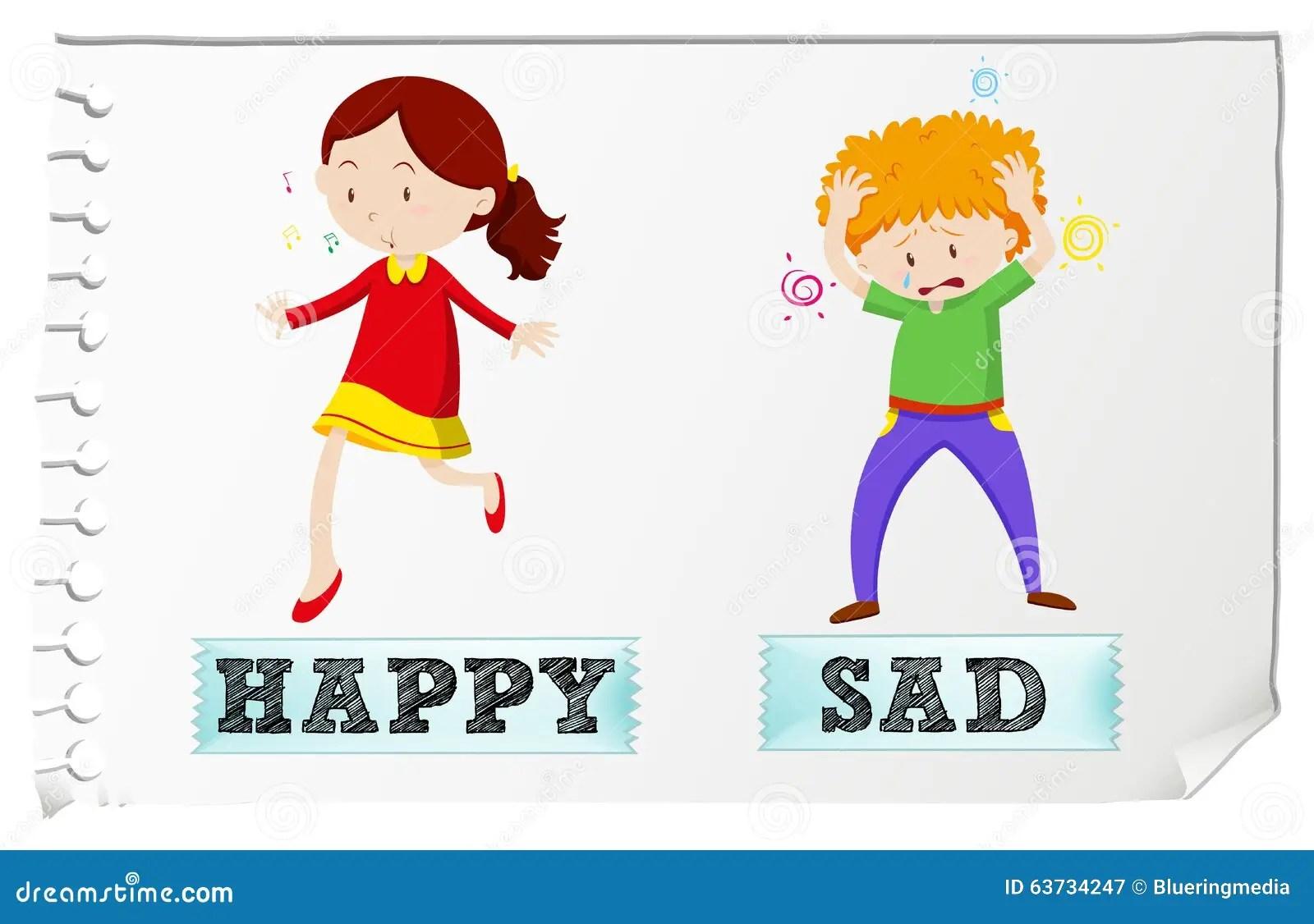 Gegenuberliegende Adjektive Glucklich Und Traurig Vektor
