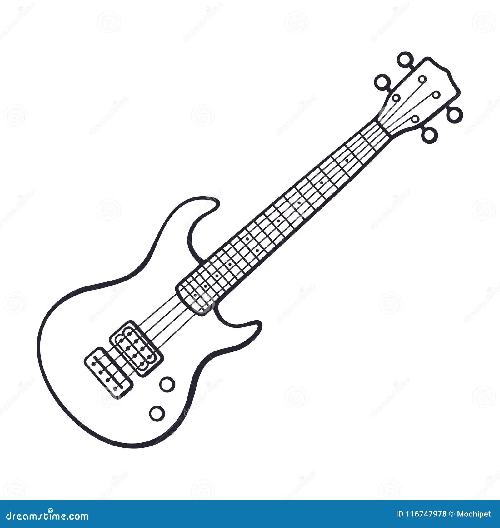 Gekritzel Des Felsengalvanos Oder Der Bass Gitarre Vektor